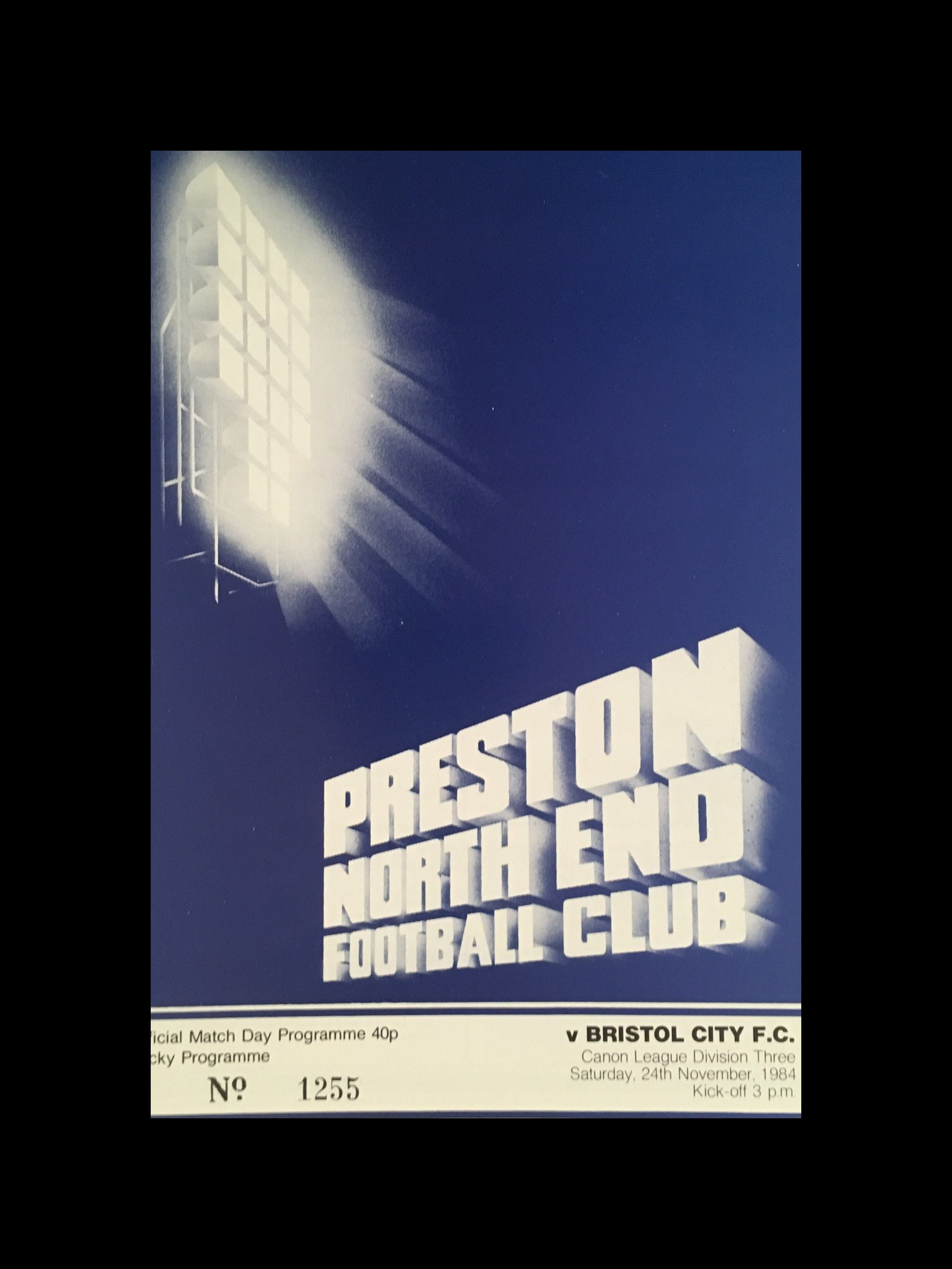 Preston North End v Bristol City 24-11-84 Programme