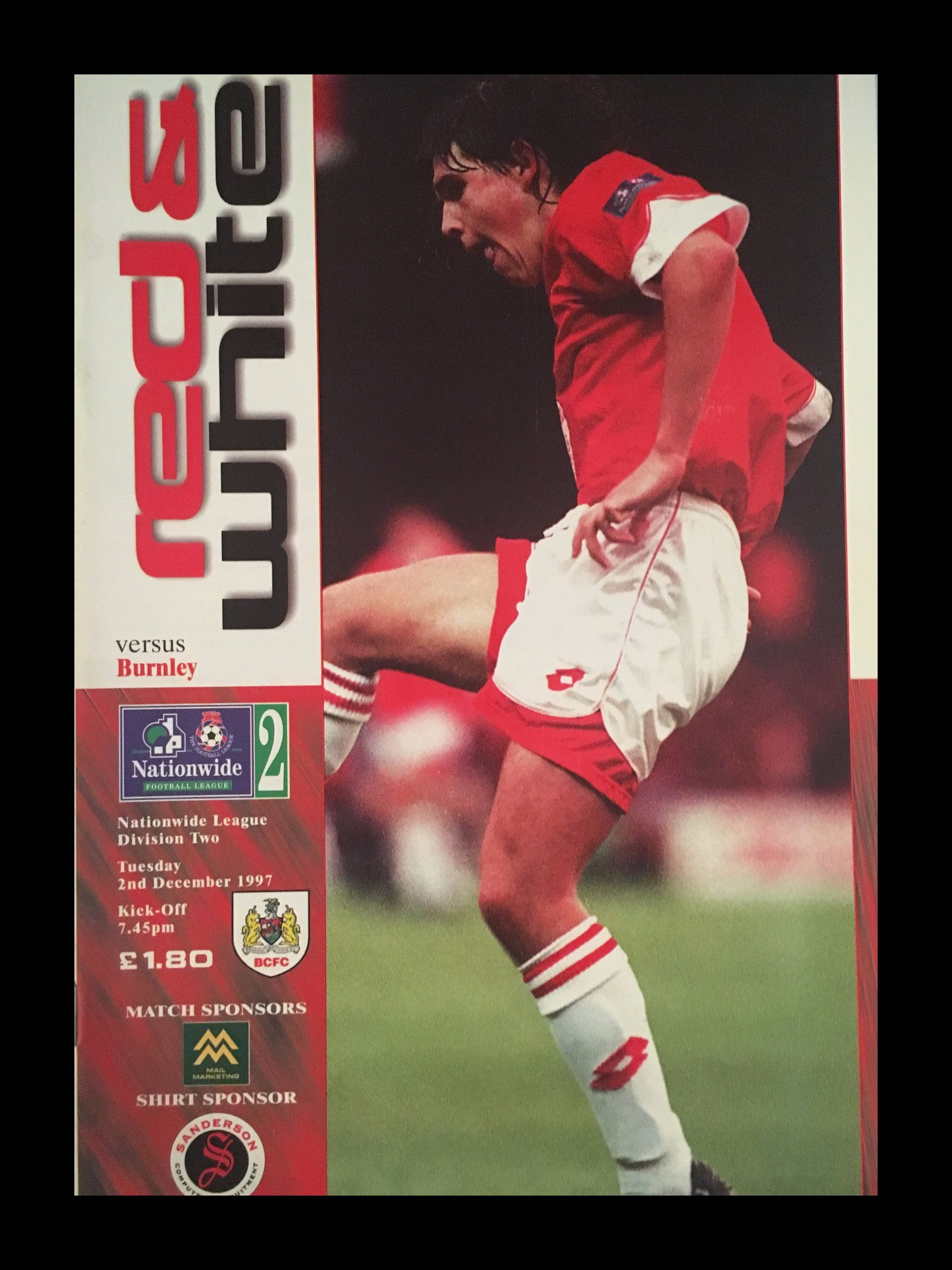 Bristol City v Burnley 02-12-1997 Programme