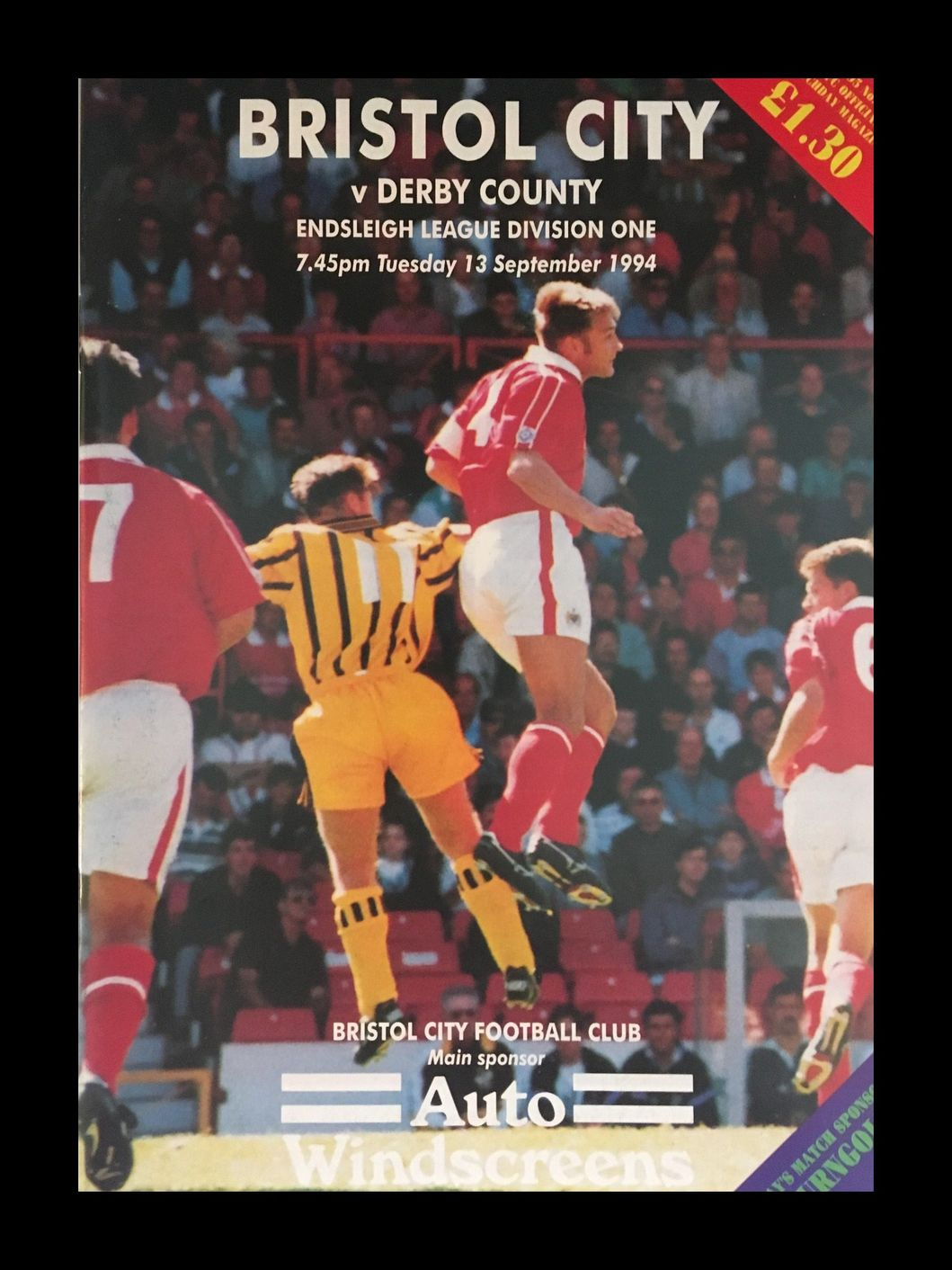 Bristol City v Derby County 13-09-1994 Programme