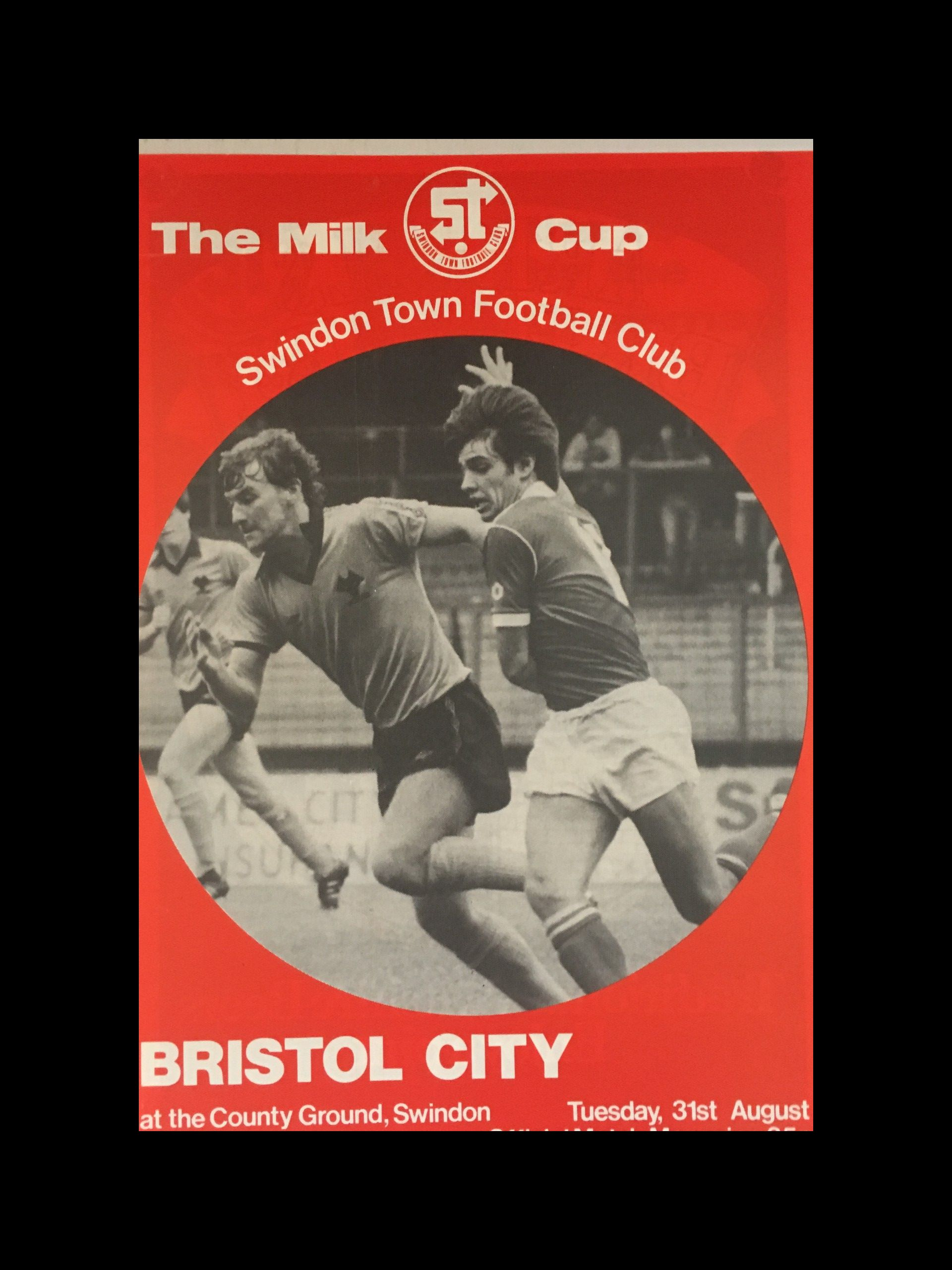 Swindon Town v Bristol City 31-08-82 Programme