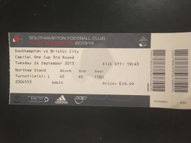 Southampton v Bristol City 24-09-2013 Ticket