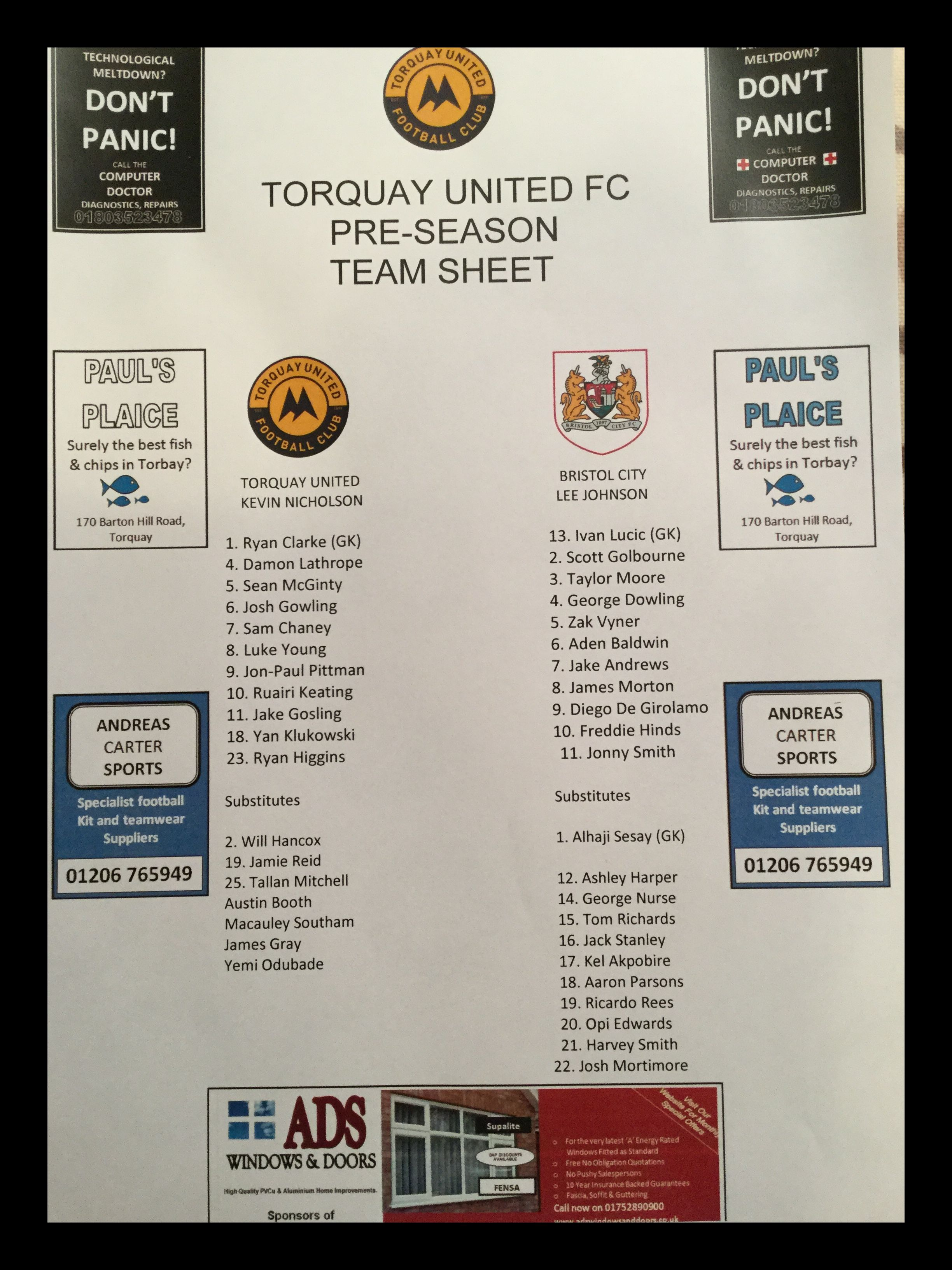 Torquay United v Bristol City 12-07-17 Team Sheet
