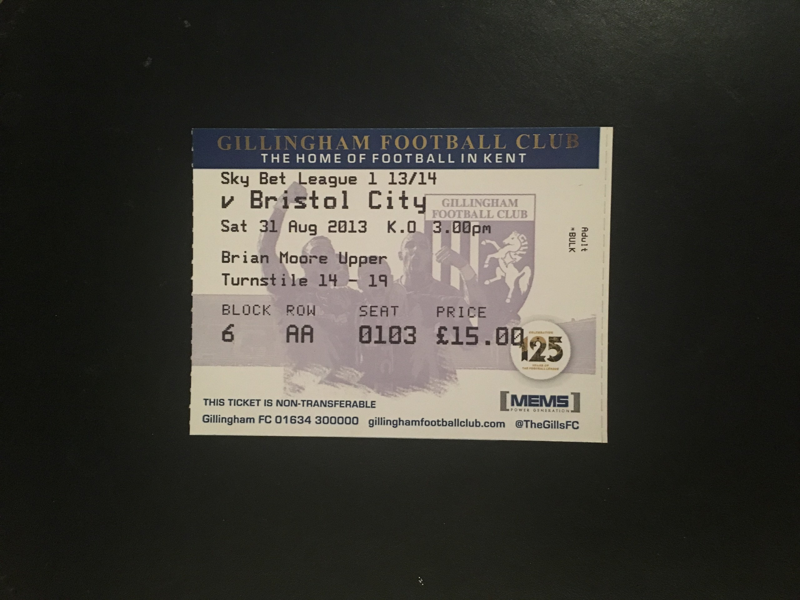 Gillingham v Bristol City 31-08-2013 Ticket