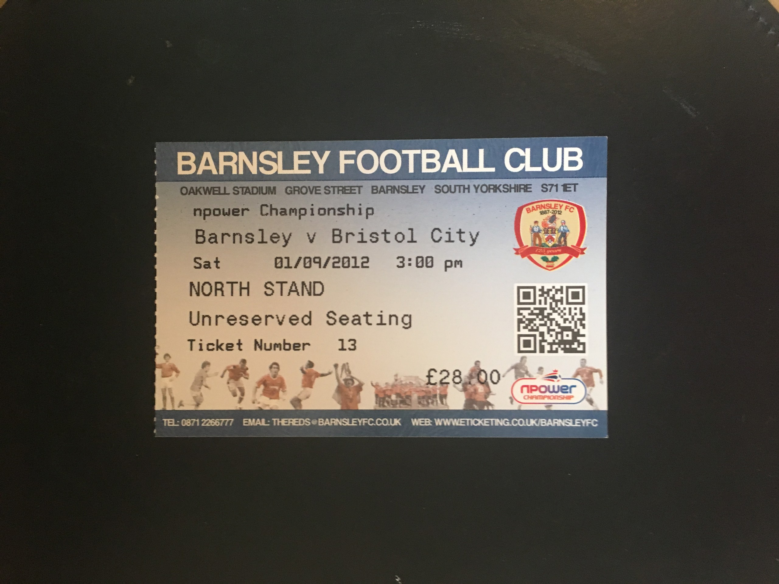 Barnsley v Bristol City 01-09-12 Ticket