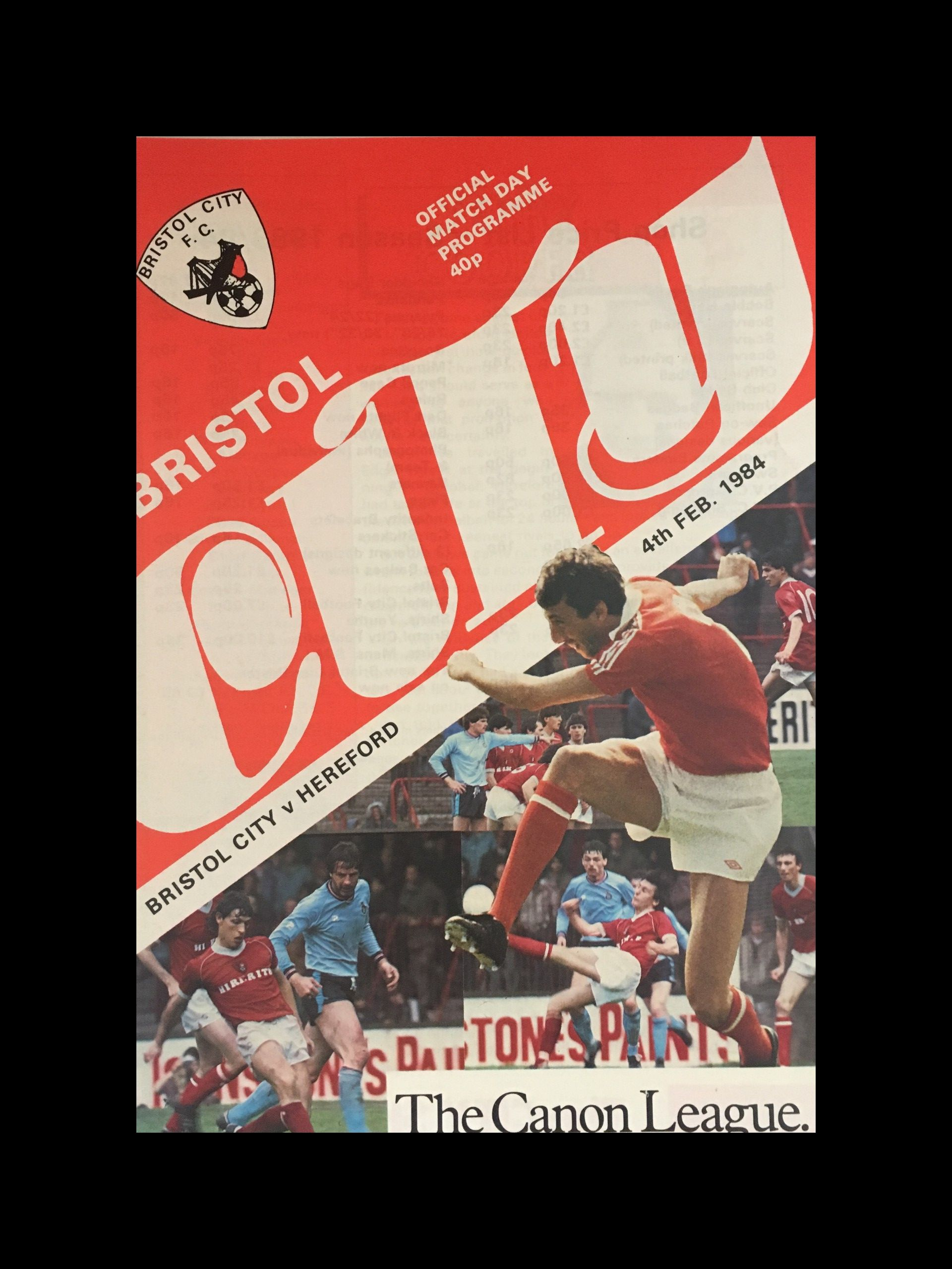 Bristol City v Hereford United 04-02-84 Programme