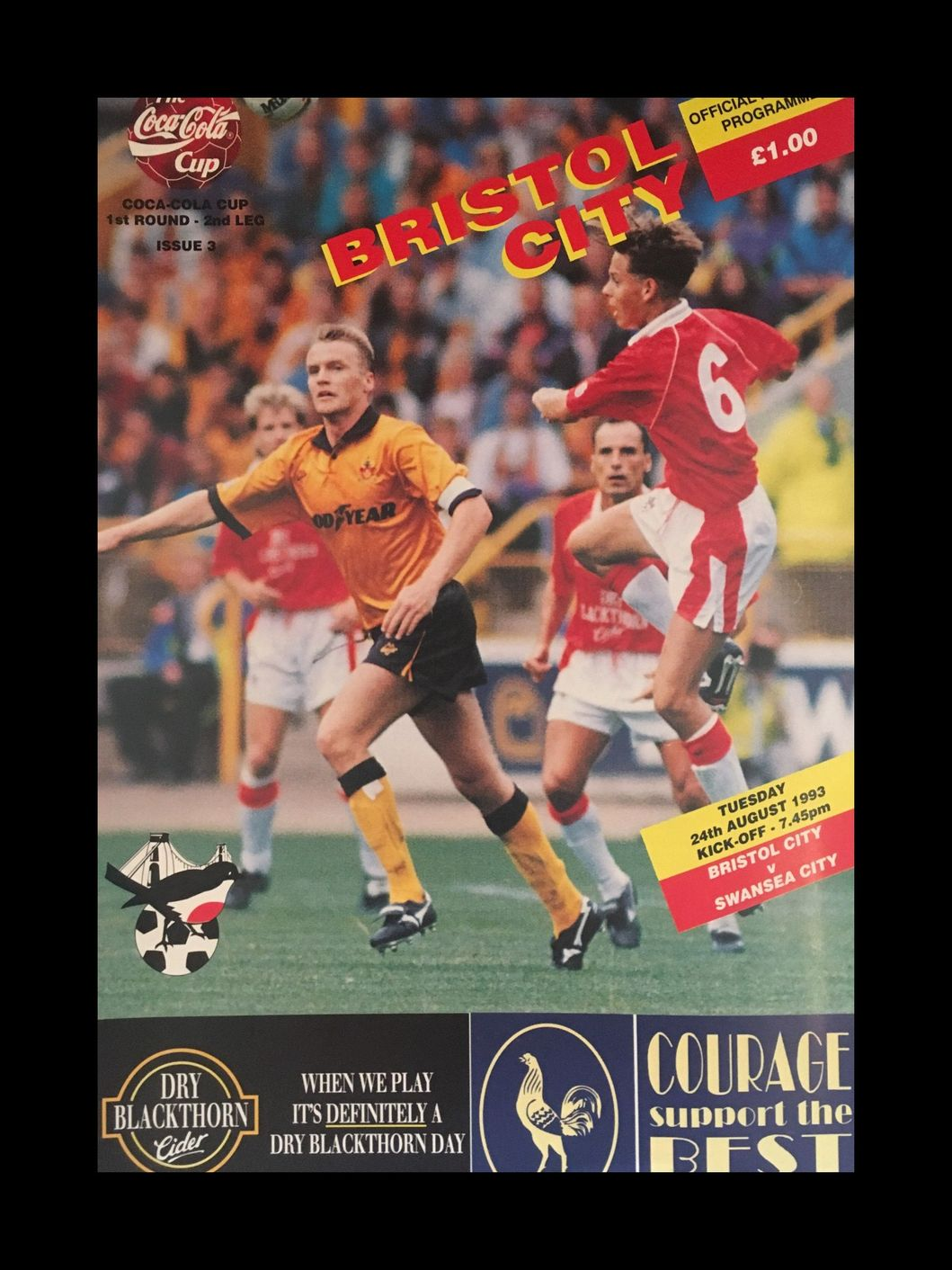 Bristol City v Swansea City 24-08-1993 Programme