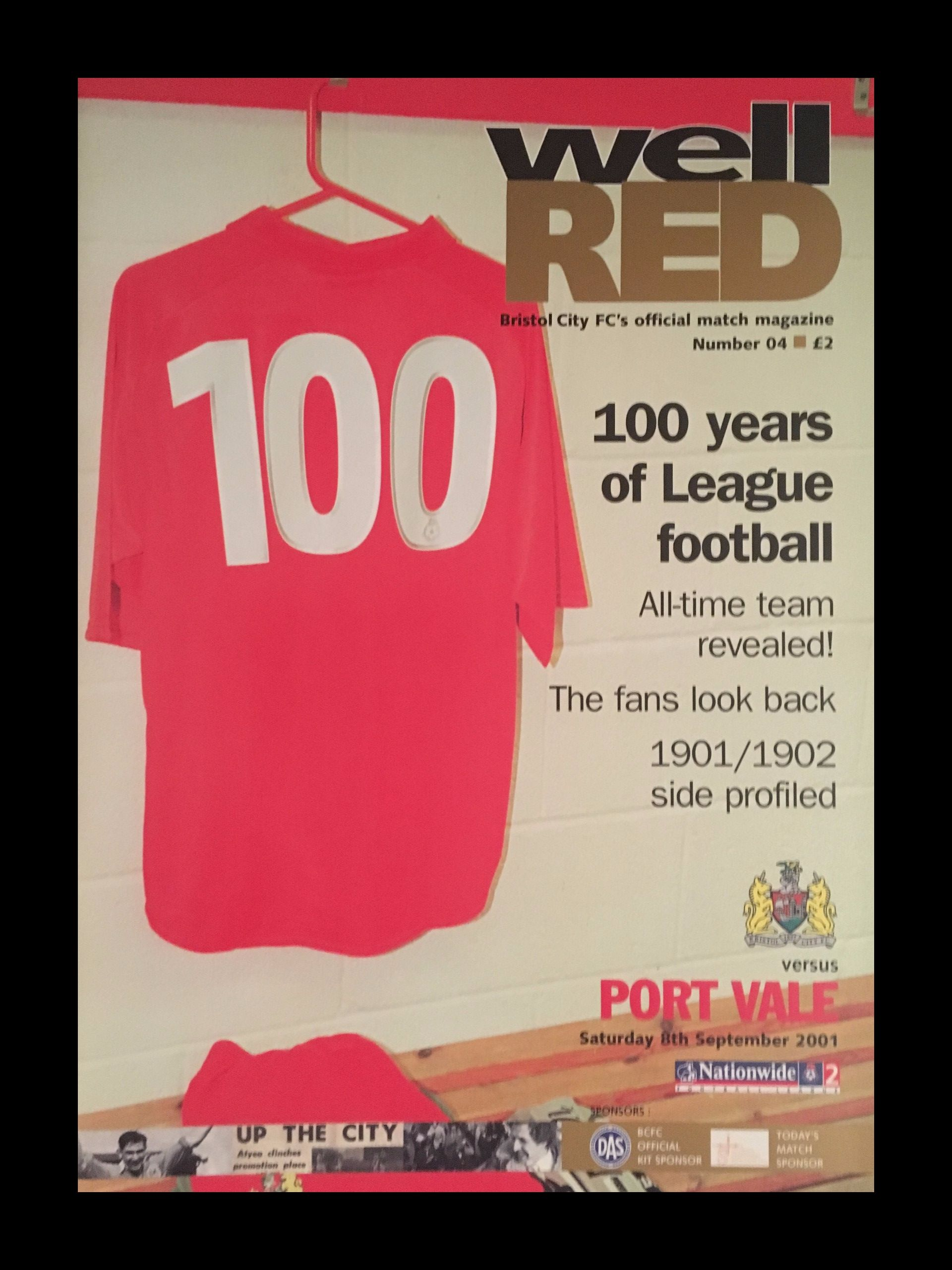 Bristol City v Port Vale 08-09-2001 Programme