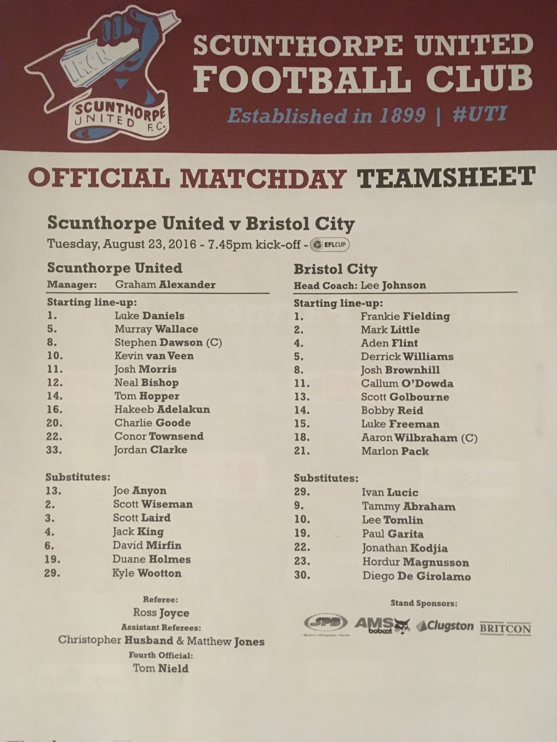 Scunthorpe United v Bristol City 23-08-2016 Team Sheet