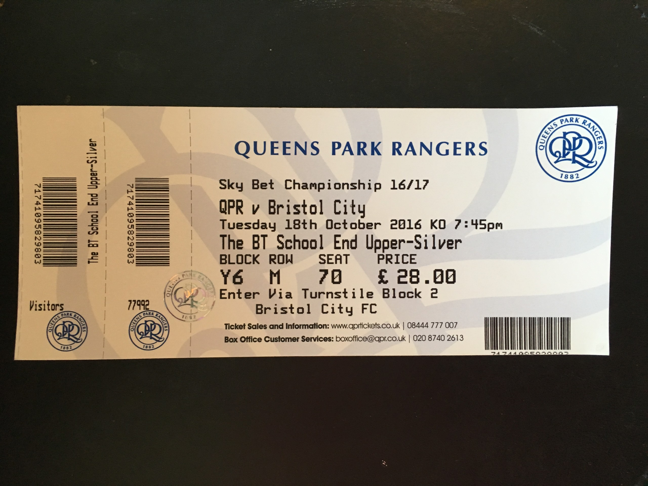 Queens Park Rangers v Bristol City 18-10-2016 Ticket