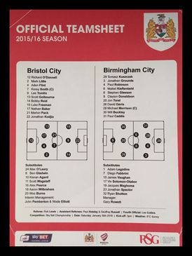 Bristol City v Birmingham City 30-01-2016 Team Sheet