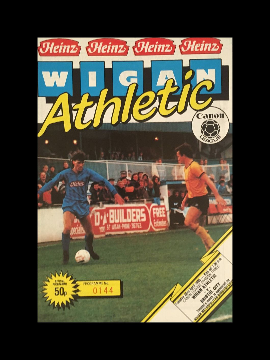 Wigan Athletic v Bristol City 23-04-85 Programme