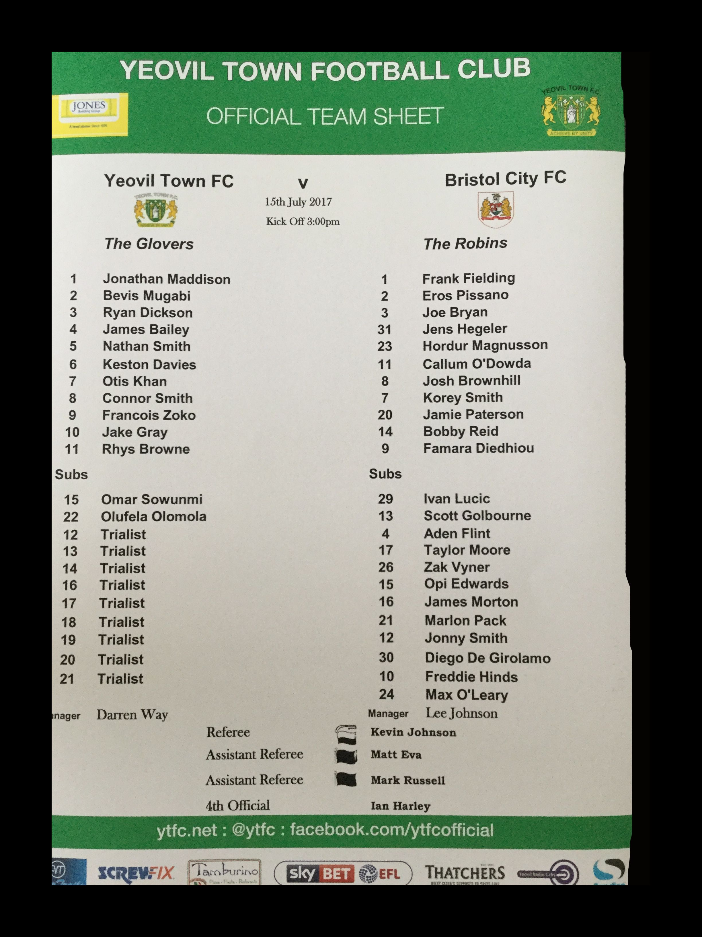 Yeovil Town v Bristol City 15-07-17 Team Sheet