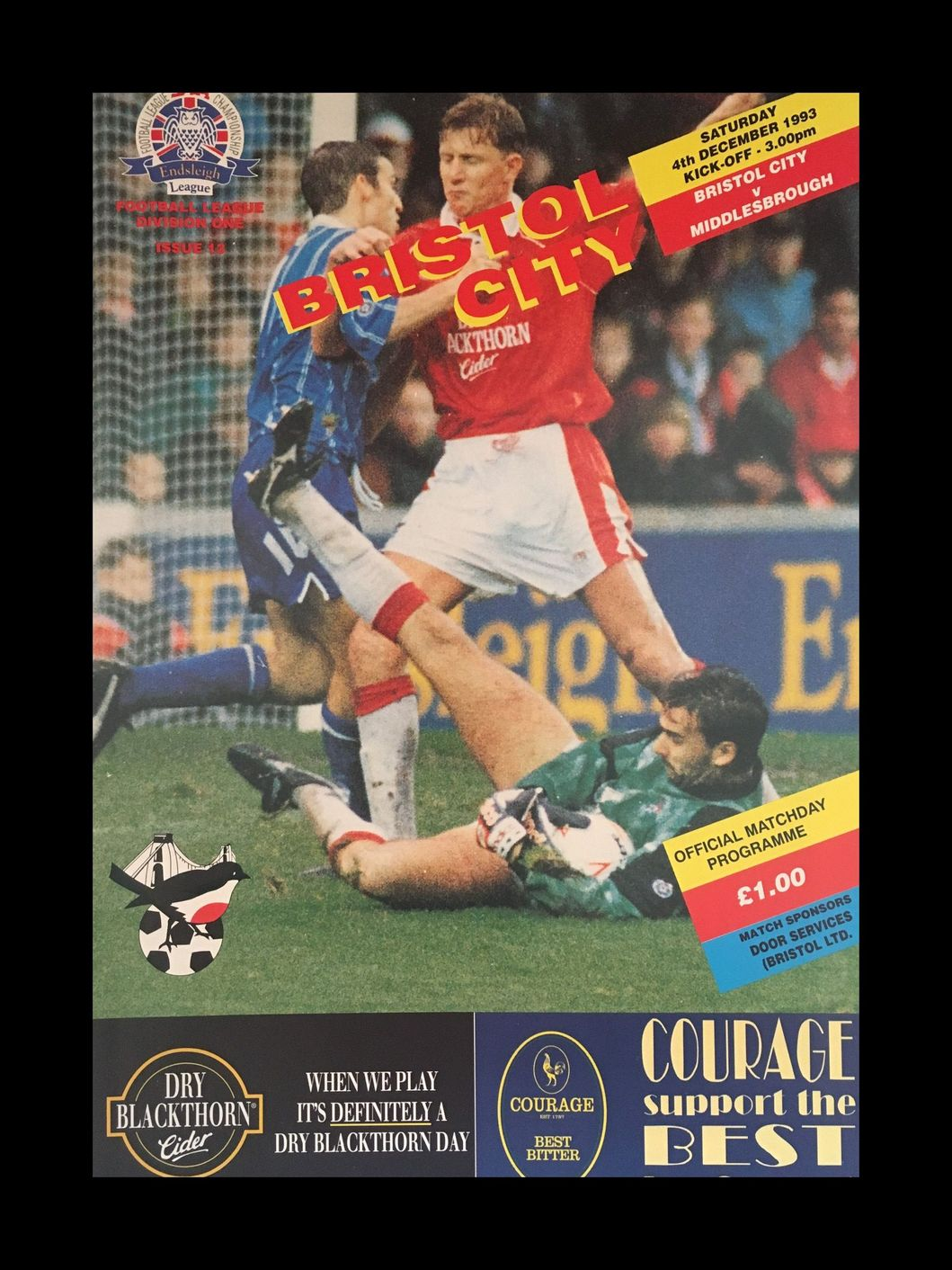 Bristol City v Middlesbrough 04-12-1993 Programme