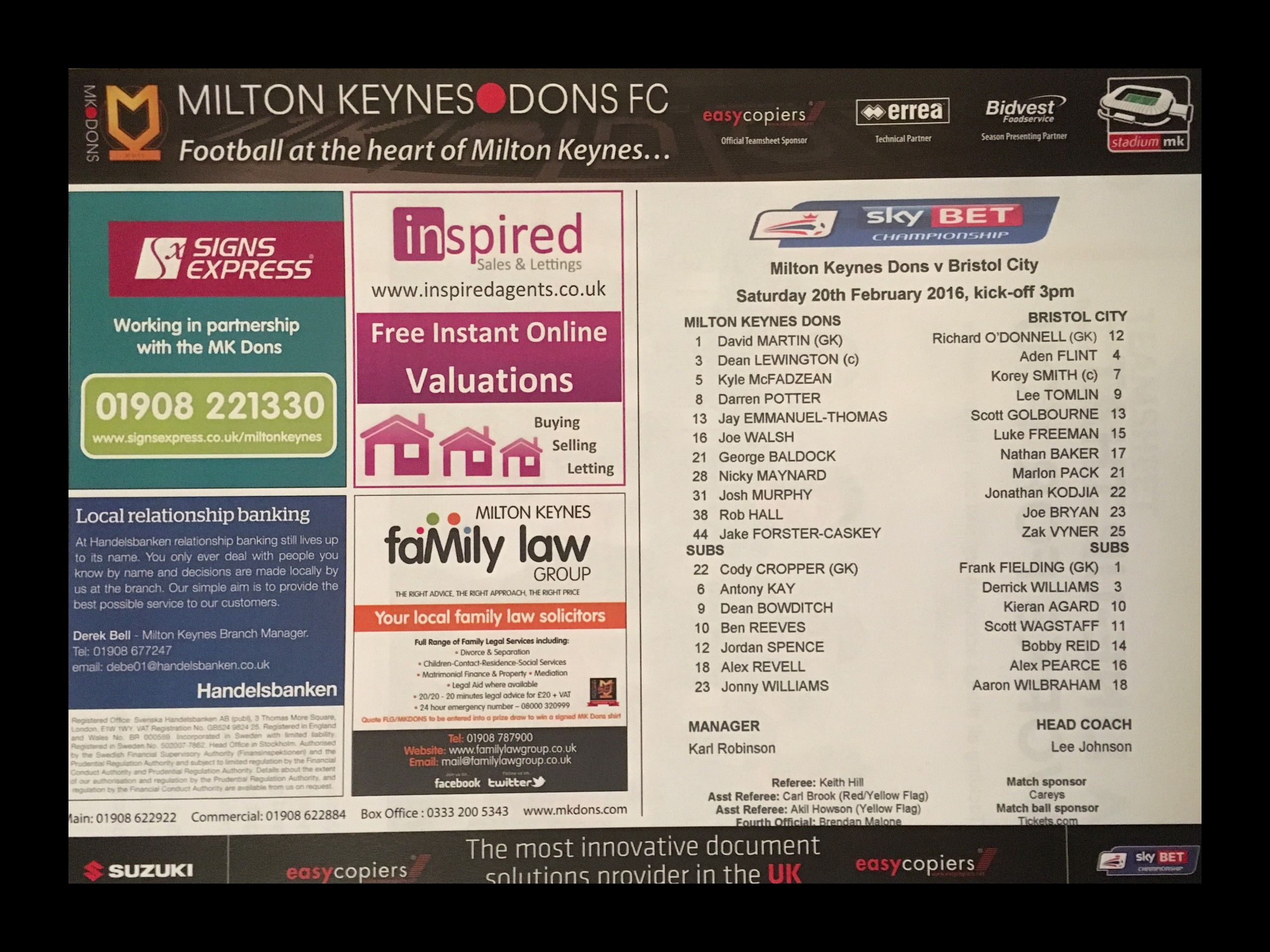 MK Dons v Bristol City 20-02-2016 Team Sheet