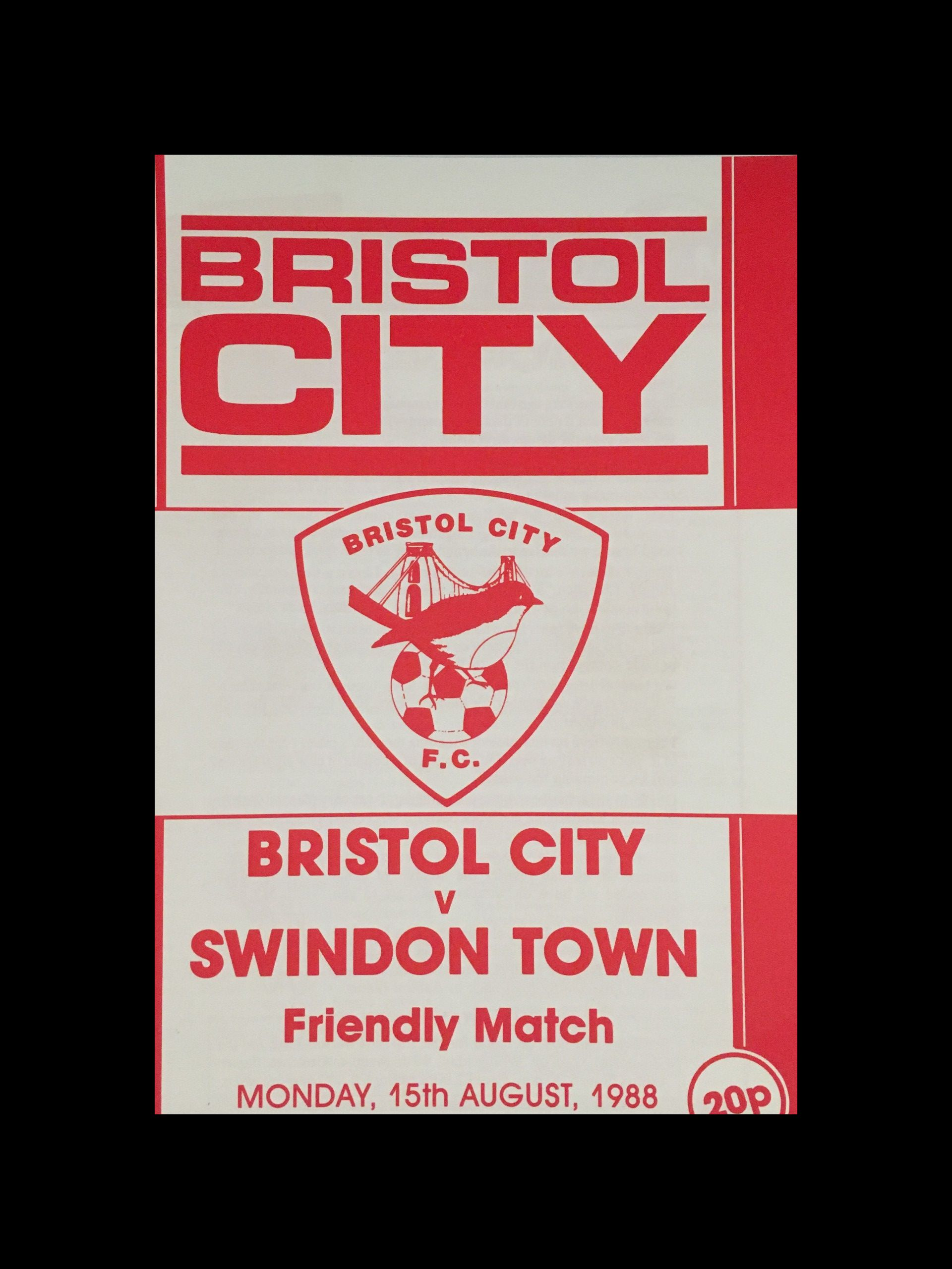 Bristol City v Swindon Town 15-08-1988 Programme