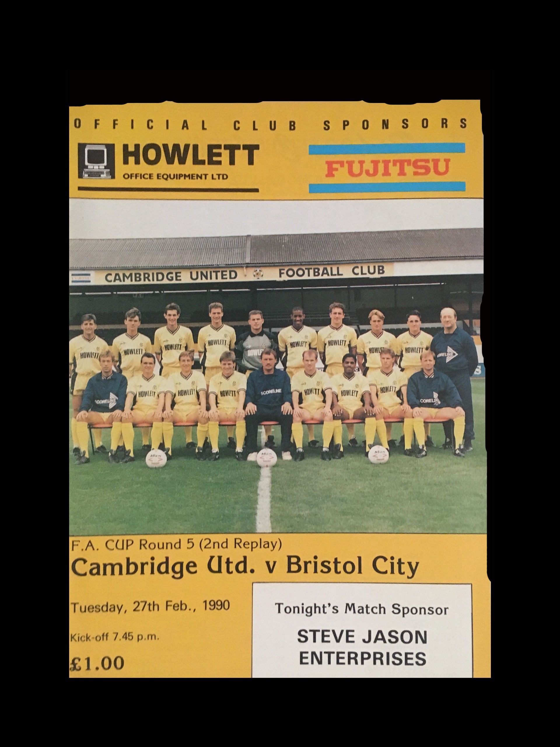 Cambridge United v Bristol City 27-02-1990 Programme