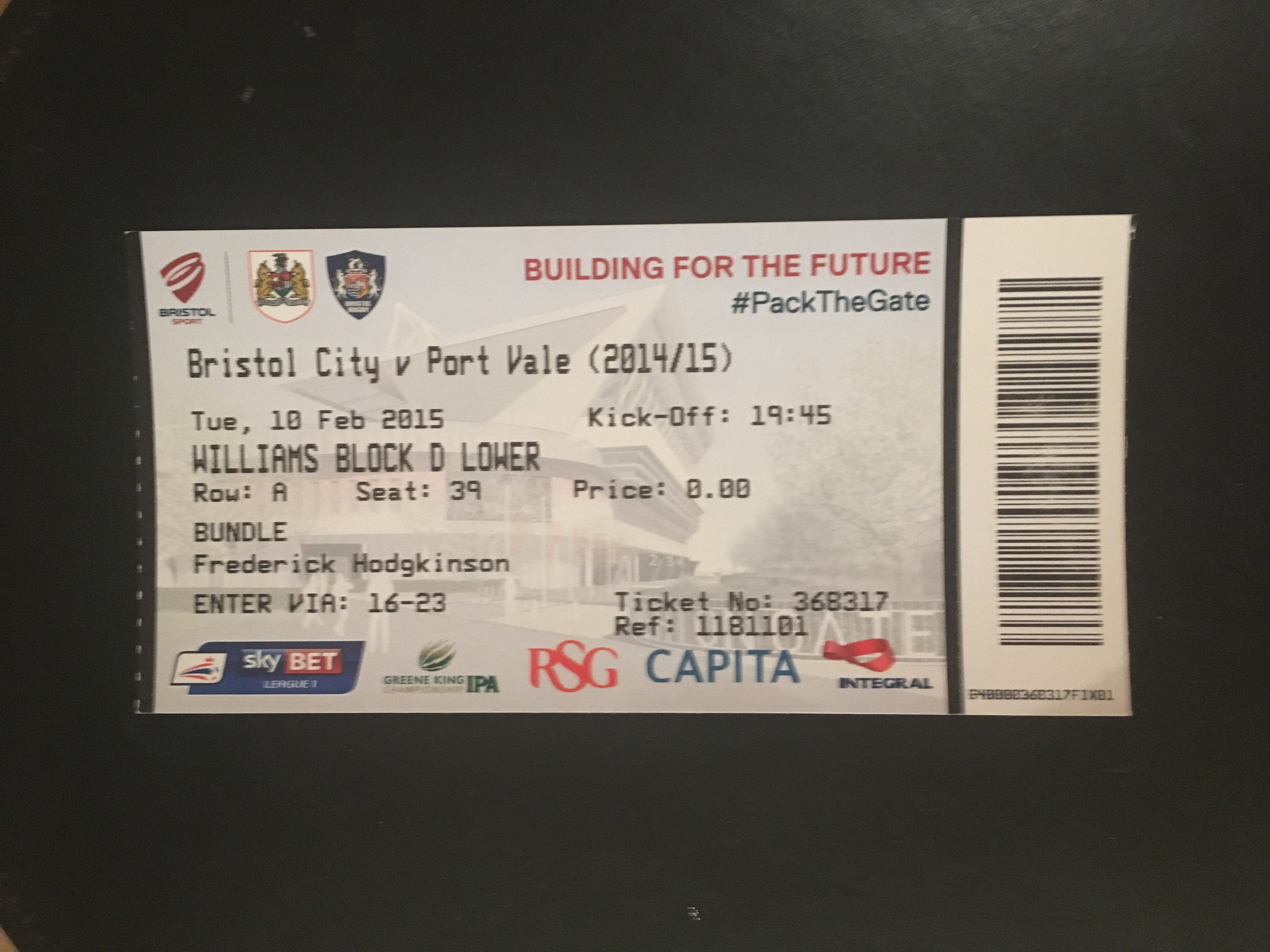 Bristol City v Port Vale 10-02-2015 Ticket