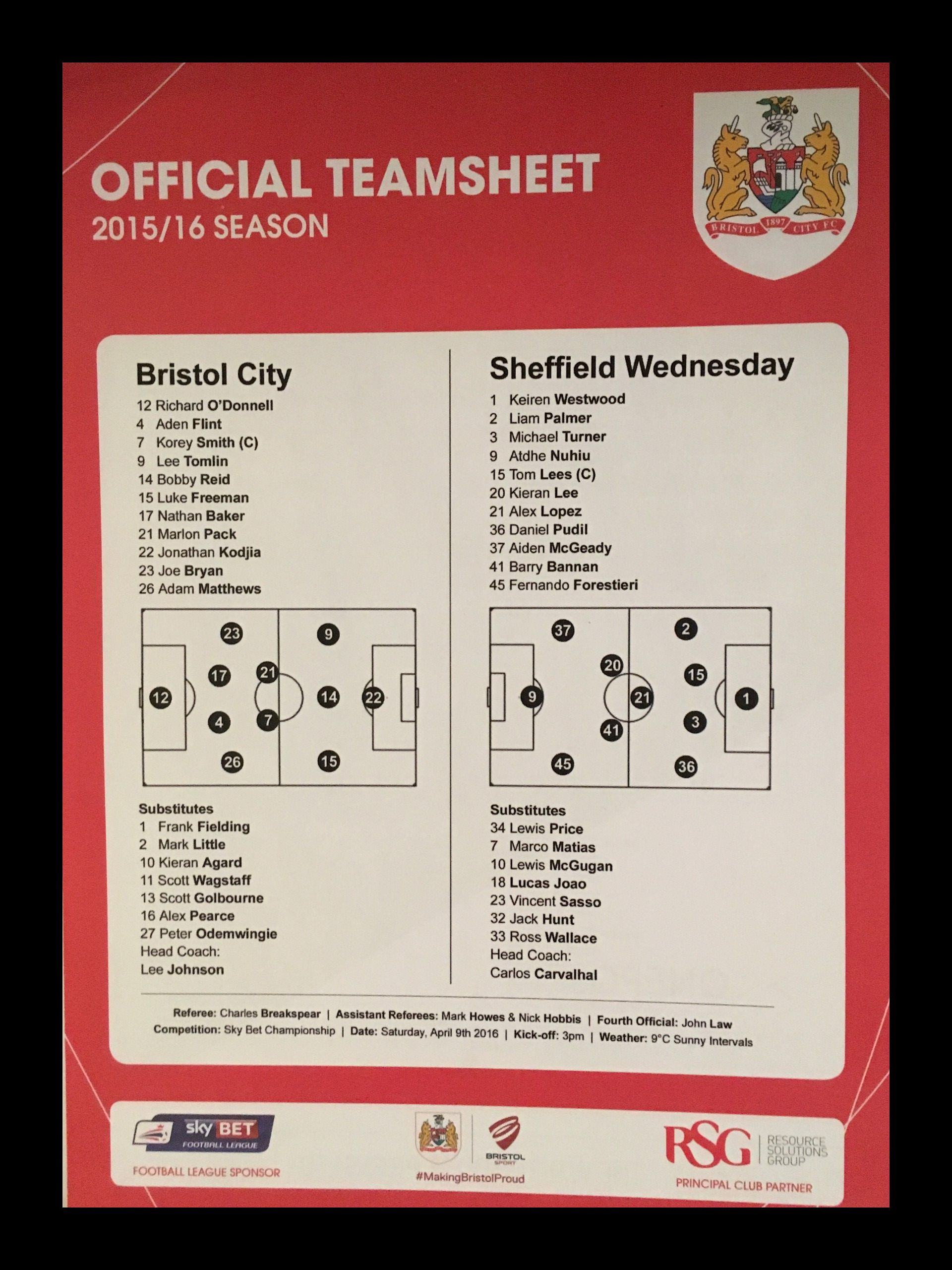 Bristol City v Sheffield Wednesday 09-04-2016 Team Sheet
