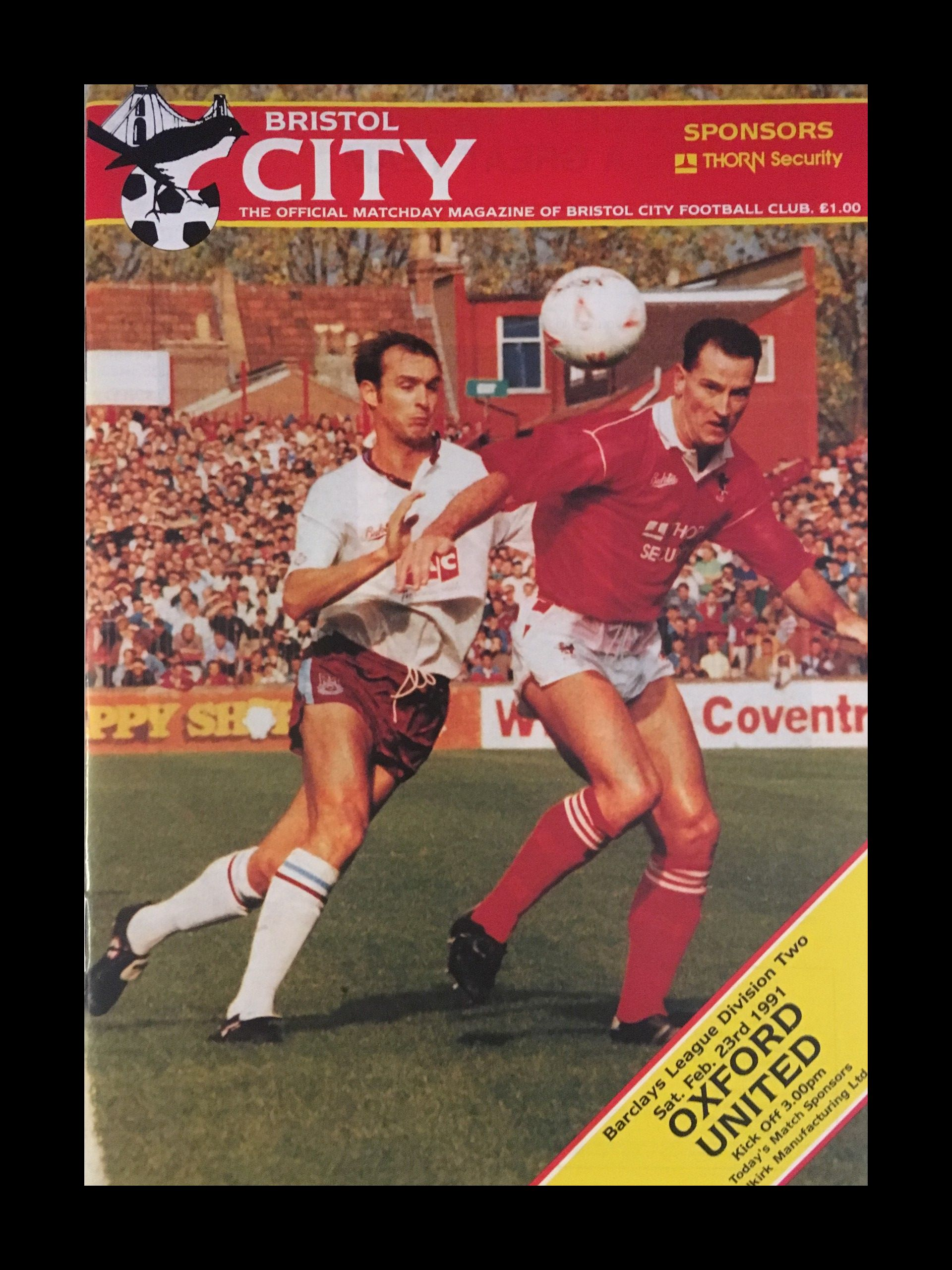 Bristol City v Oxford United 23-02-1991 Programme