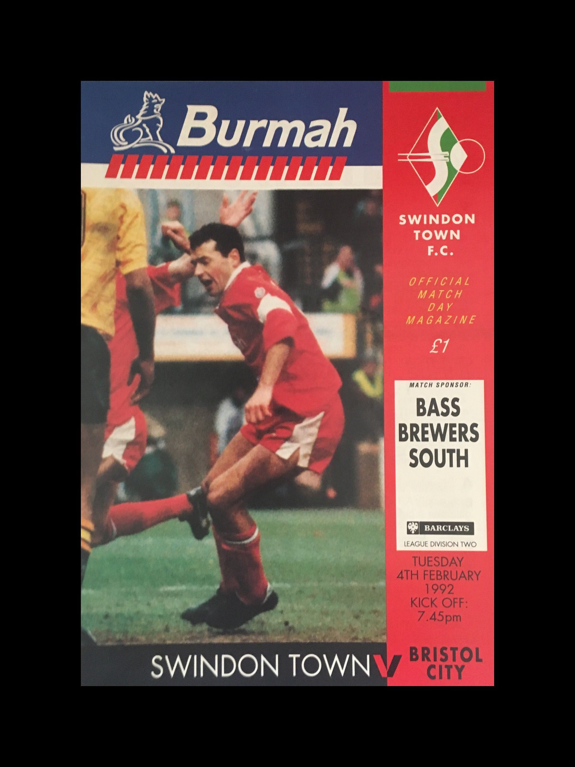Swindon Town v Bristol City 04-02-1992 Programme