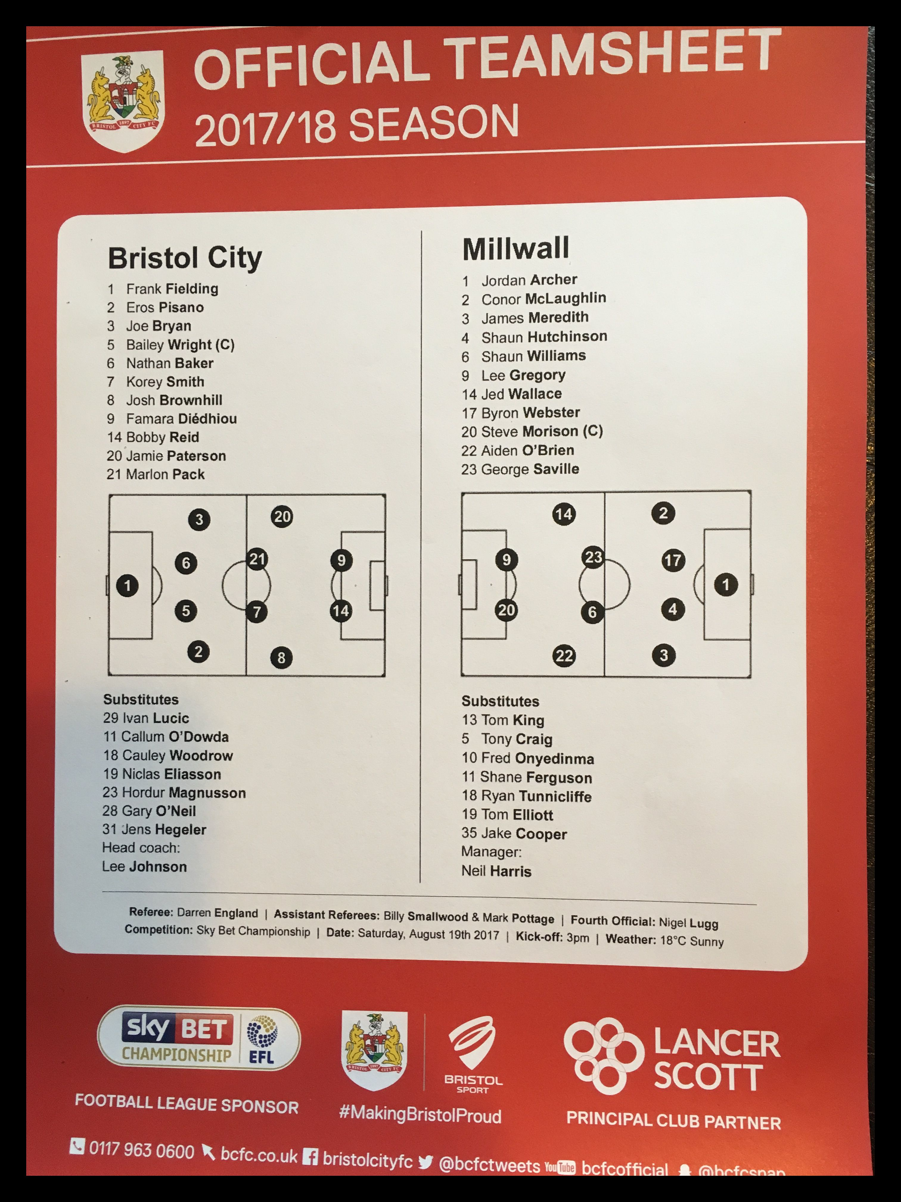Bristol City v Millwall 19-08-17 Team Sheet