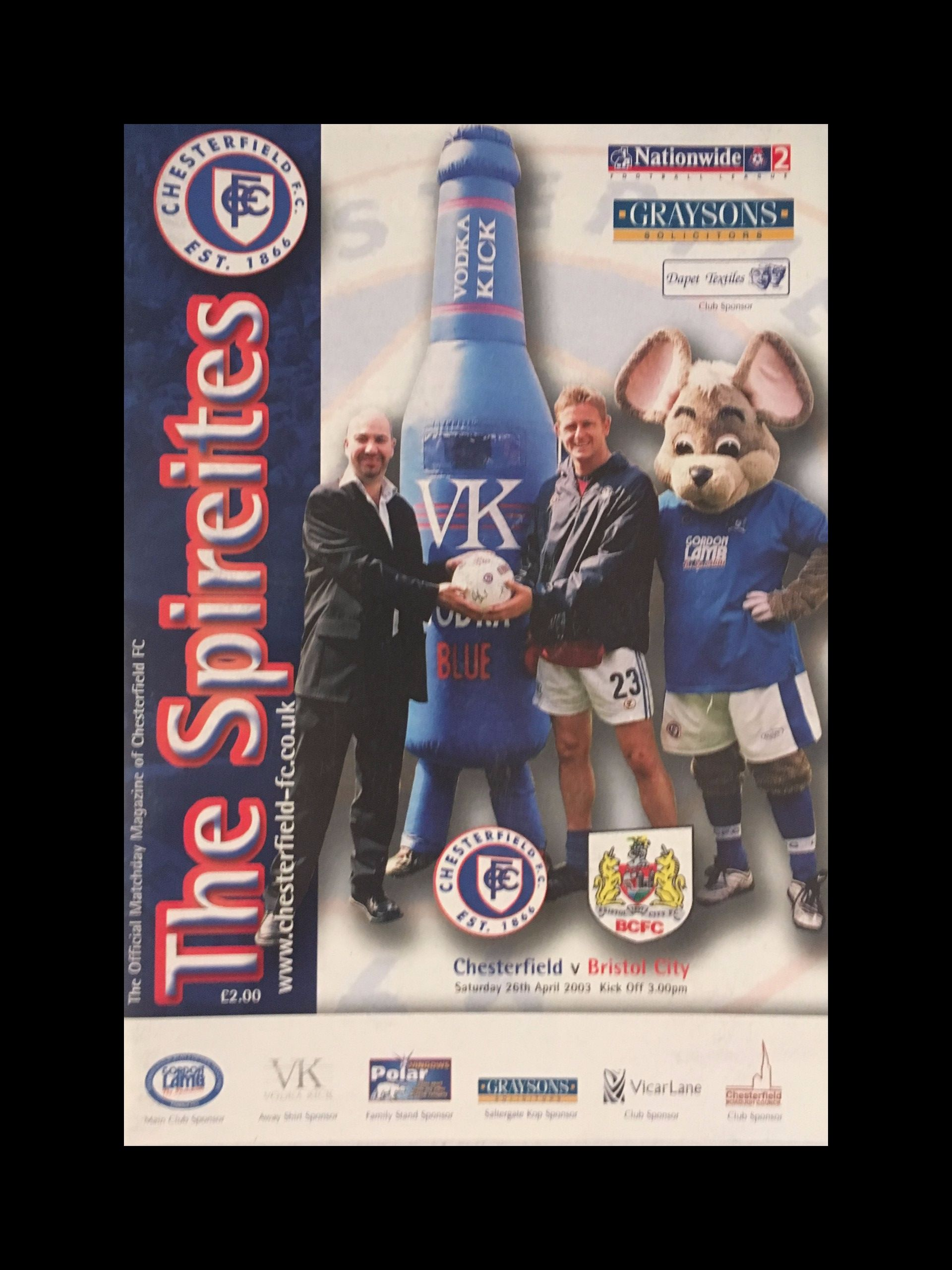 Chesterfield v Bristol City 26-04-2003 Programme