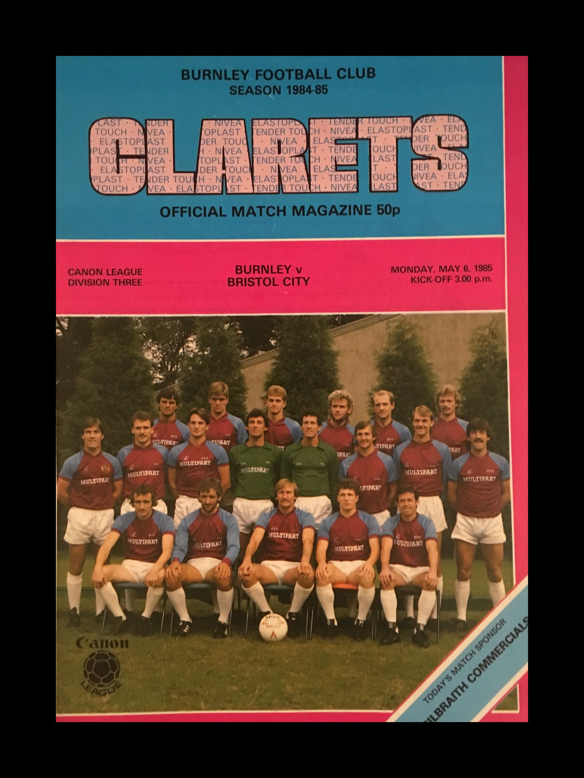 Burnley v Bristol City 06-05-85 Programme