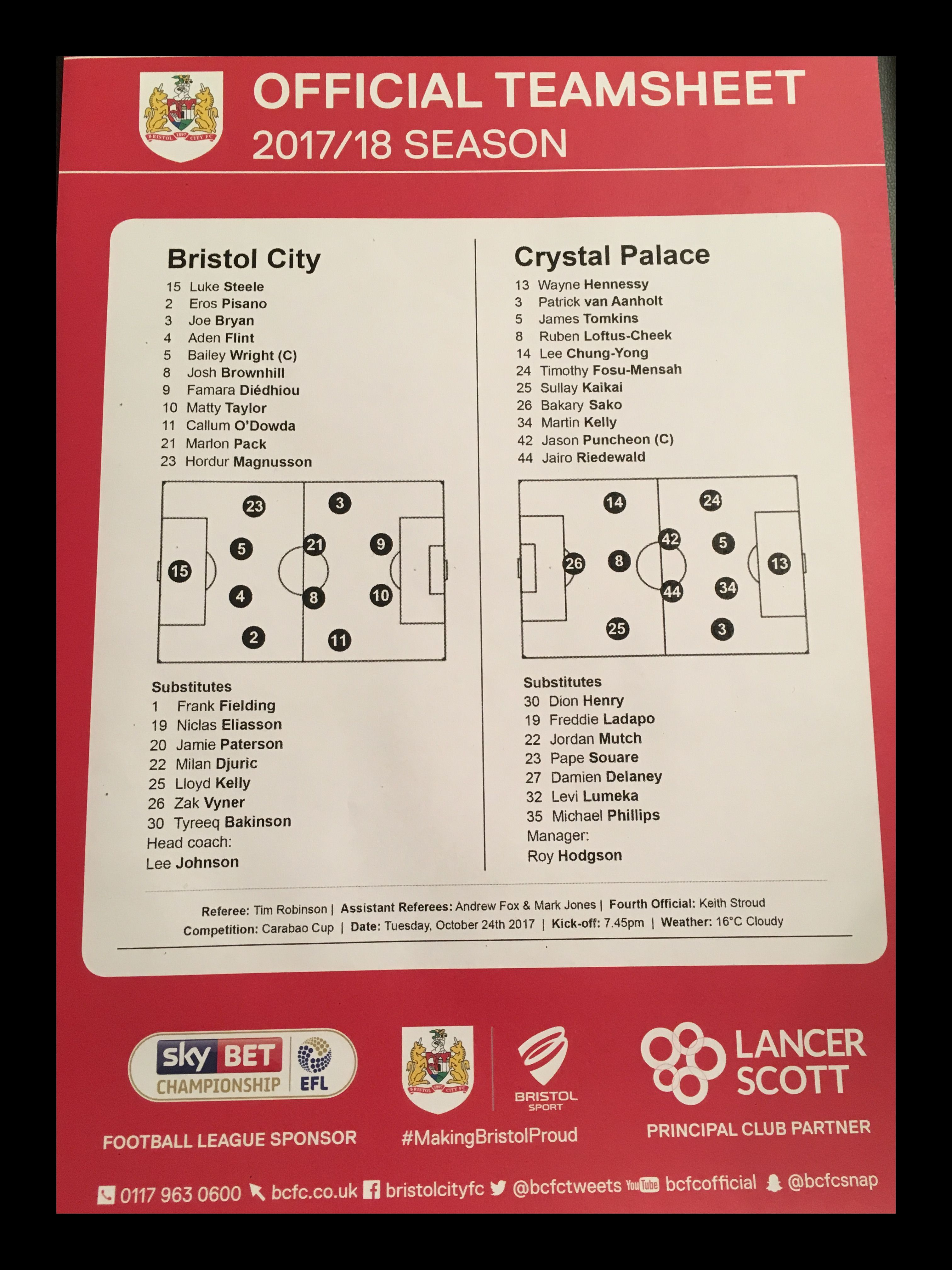Bristol City v Crystal Palace 24-10-17 Team Sheet