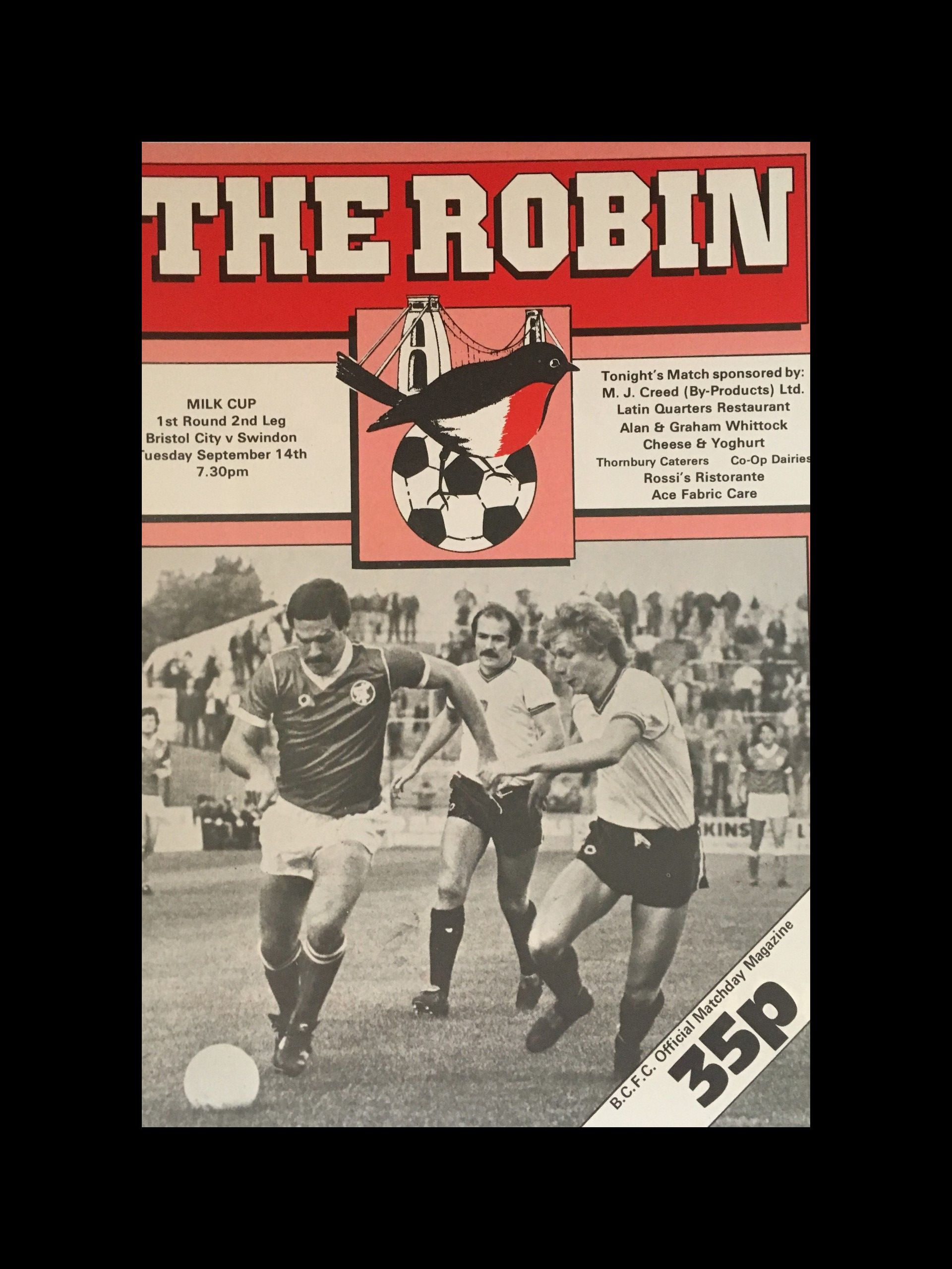 Bristol City v Swindon Town 14-09-82 Programme