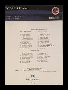 Reading v Bristol City 02-01-2016 Team Sheet