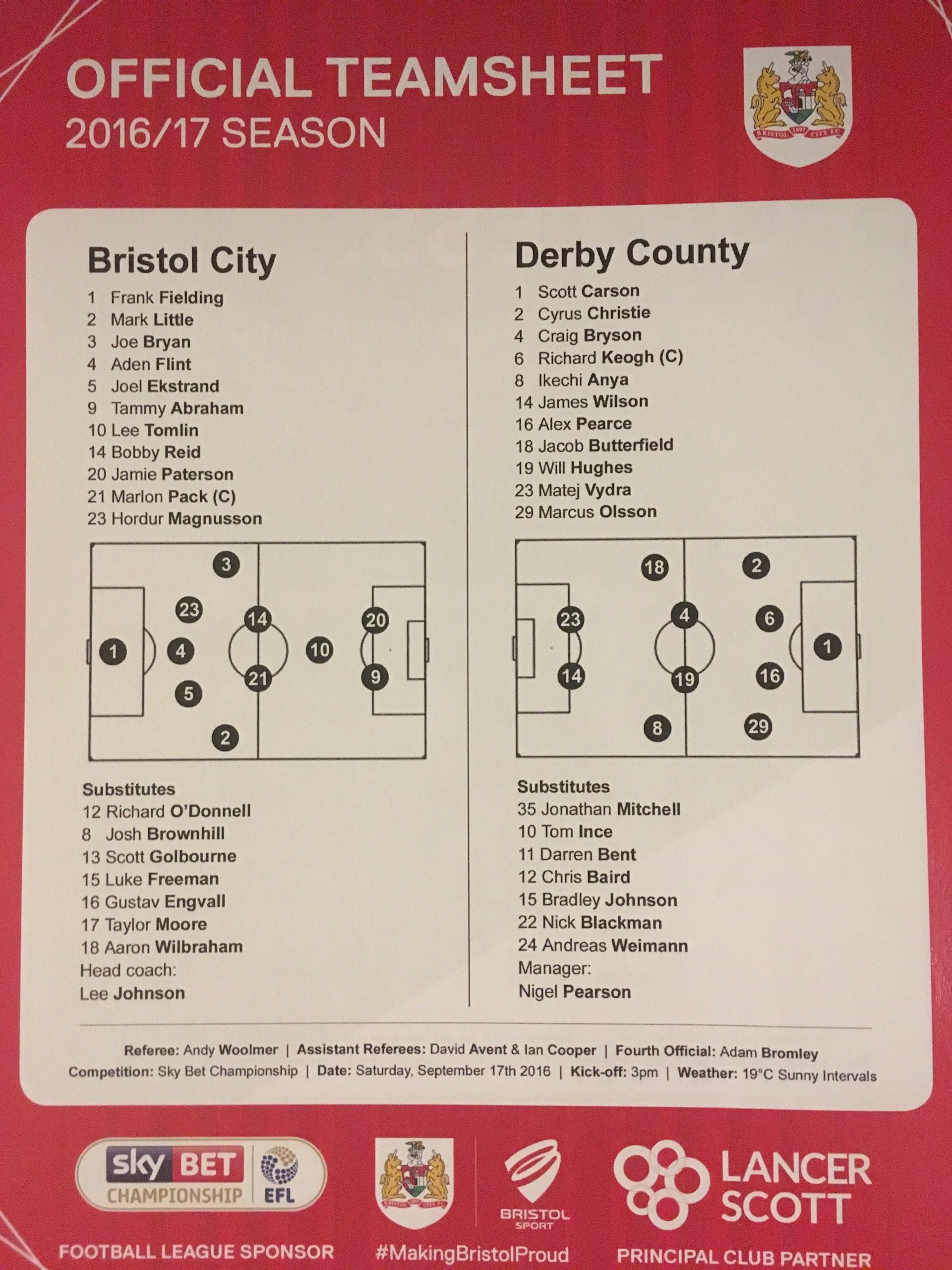 Bristol City v Derby County 17-09-2016 Team Sheet