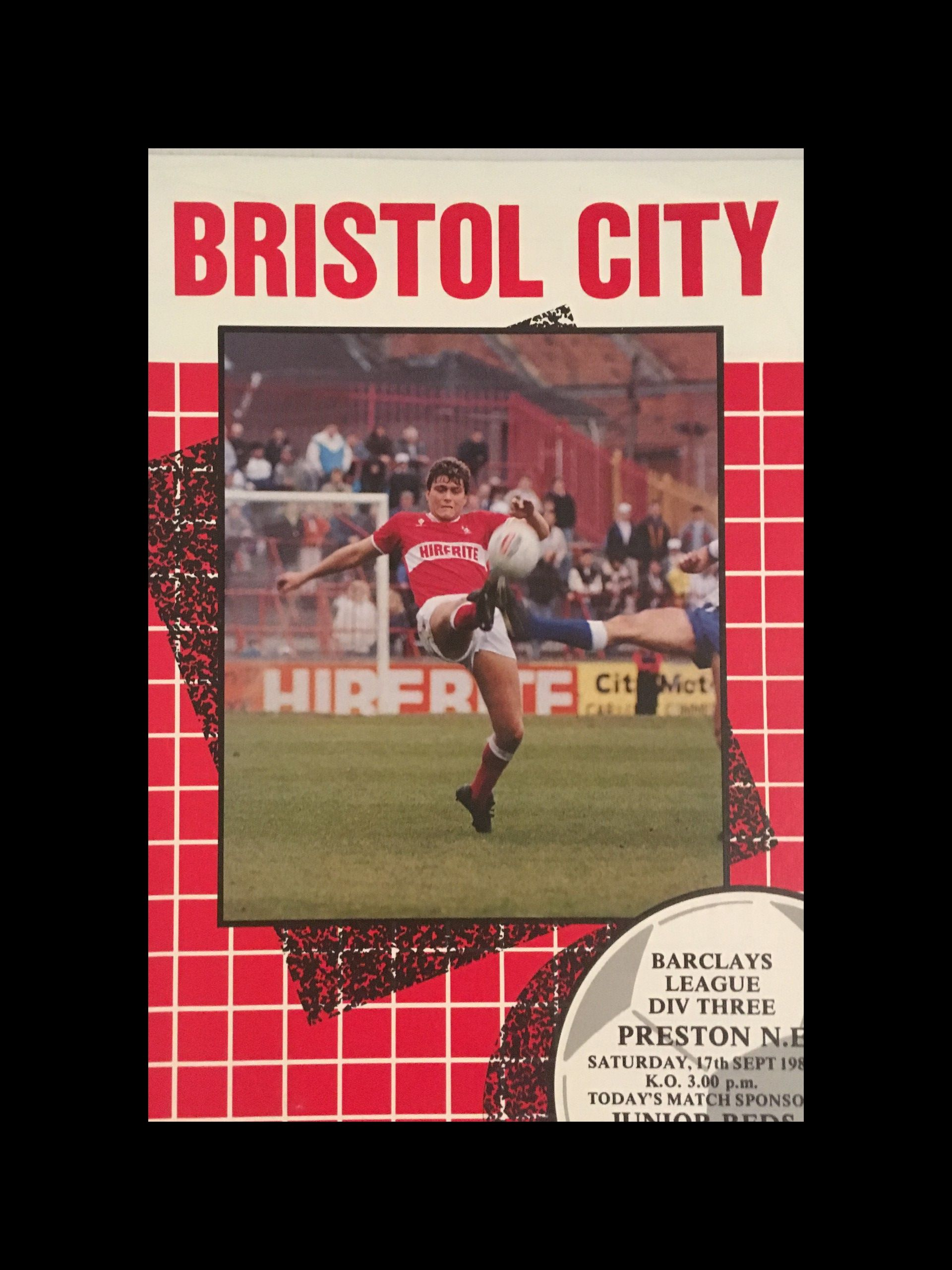 Bristol City v Preston North End 17-09-1988 Programme