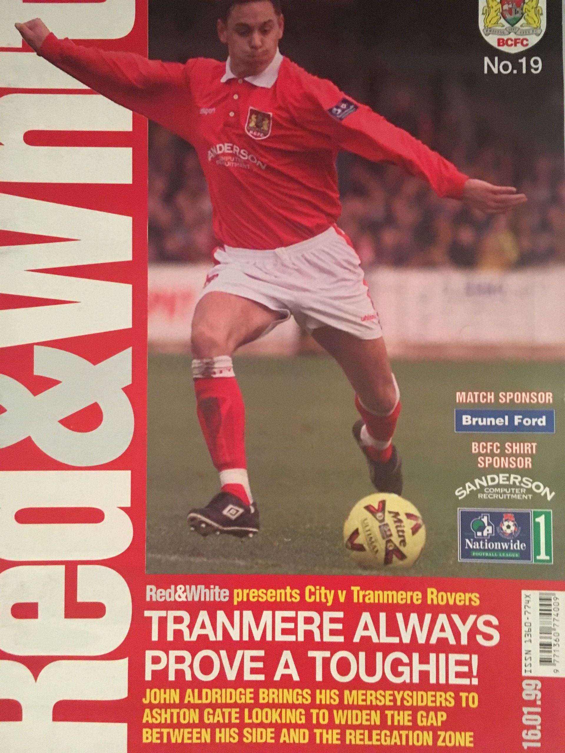 Bristol City v Tranmere Rovers 16-01-1999 Programme