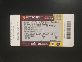 Watford v Bristol City 14-01-2014 Ticket