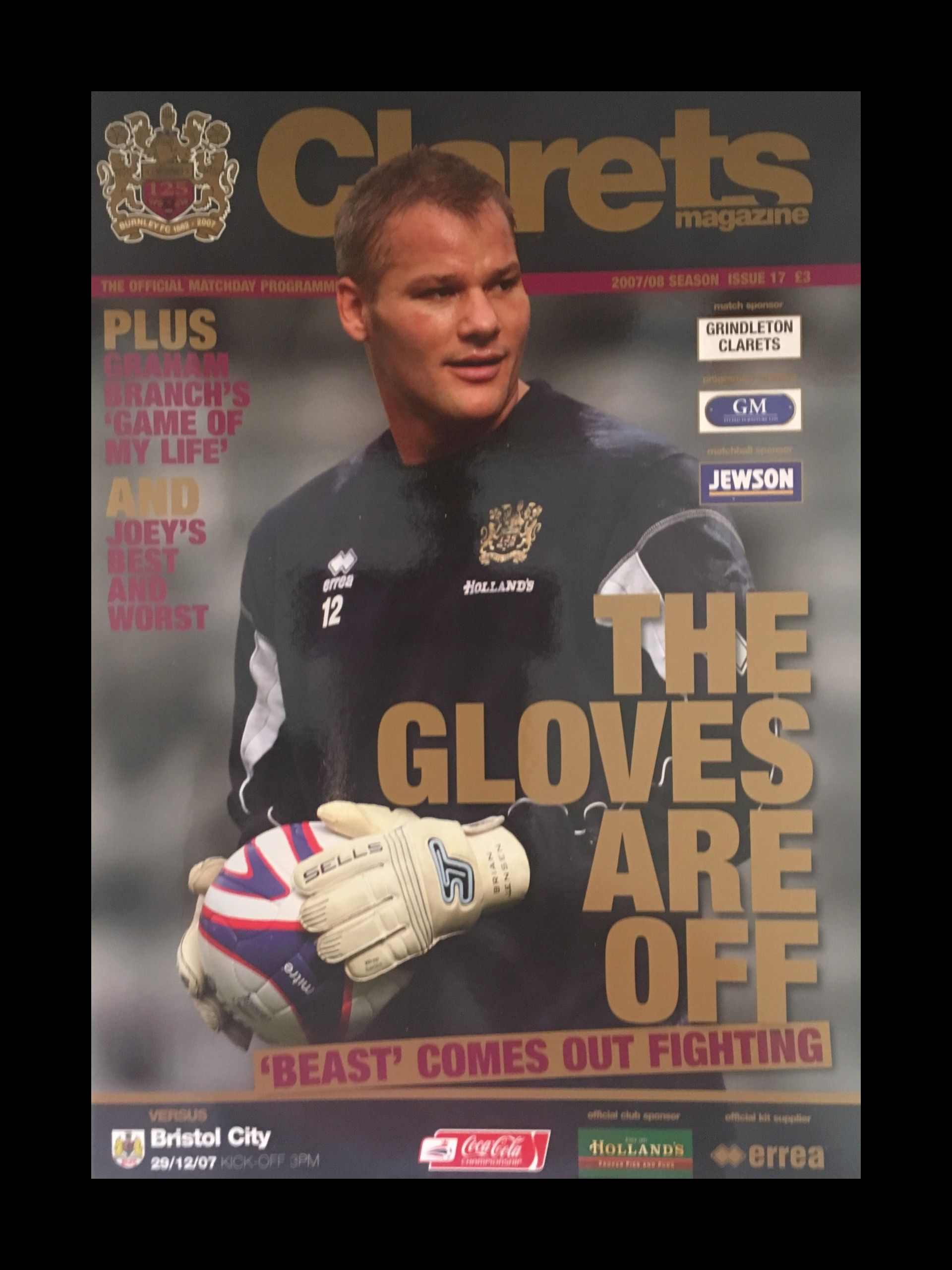 Burnley v Bristol City 29-12-2007 Programme