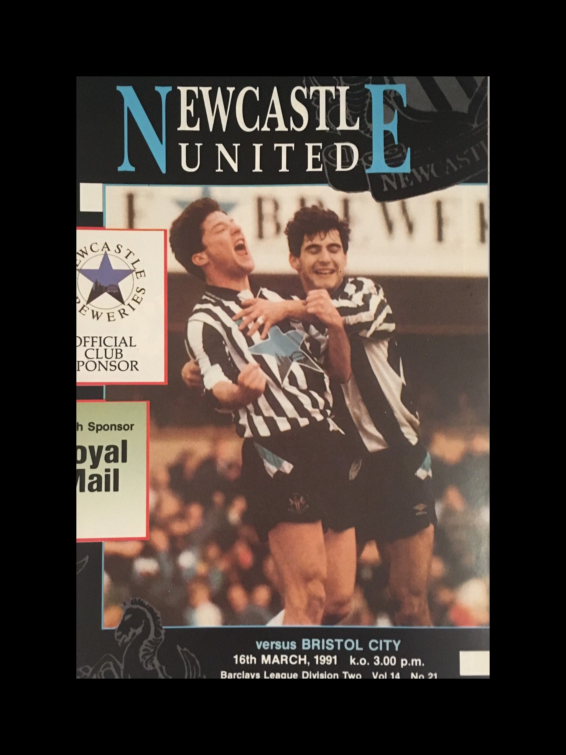 Newcastle United v Bristol City 16-03-1991 Programme