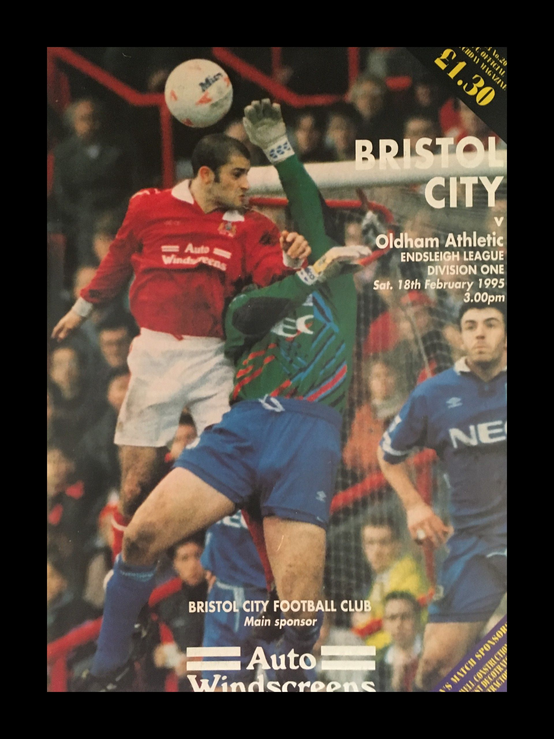 Bristol City v Oldham Athletic 18-02-1995 Programme