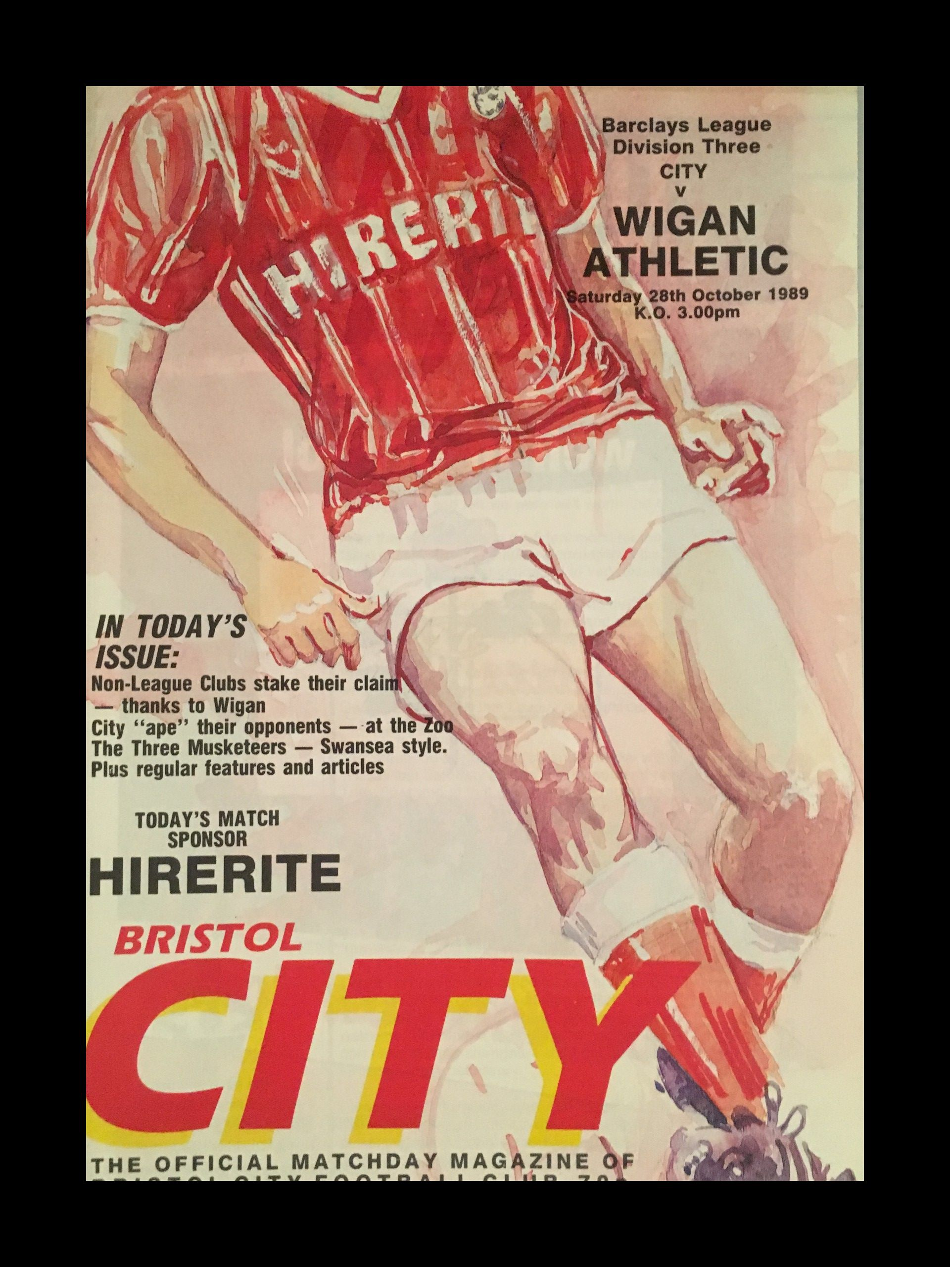Bristol City v Wigan Athletic 28-10-1989 Programme