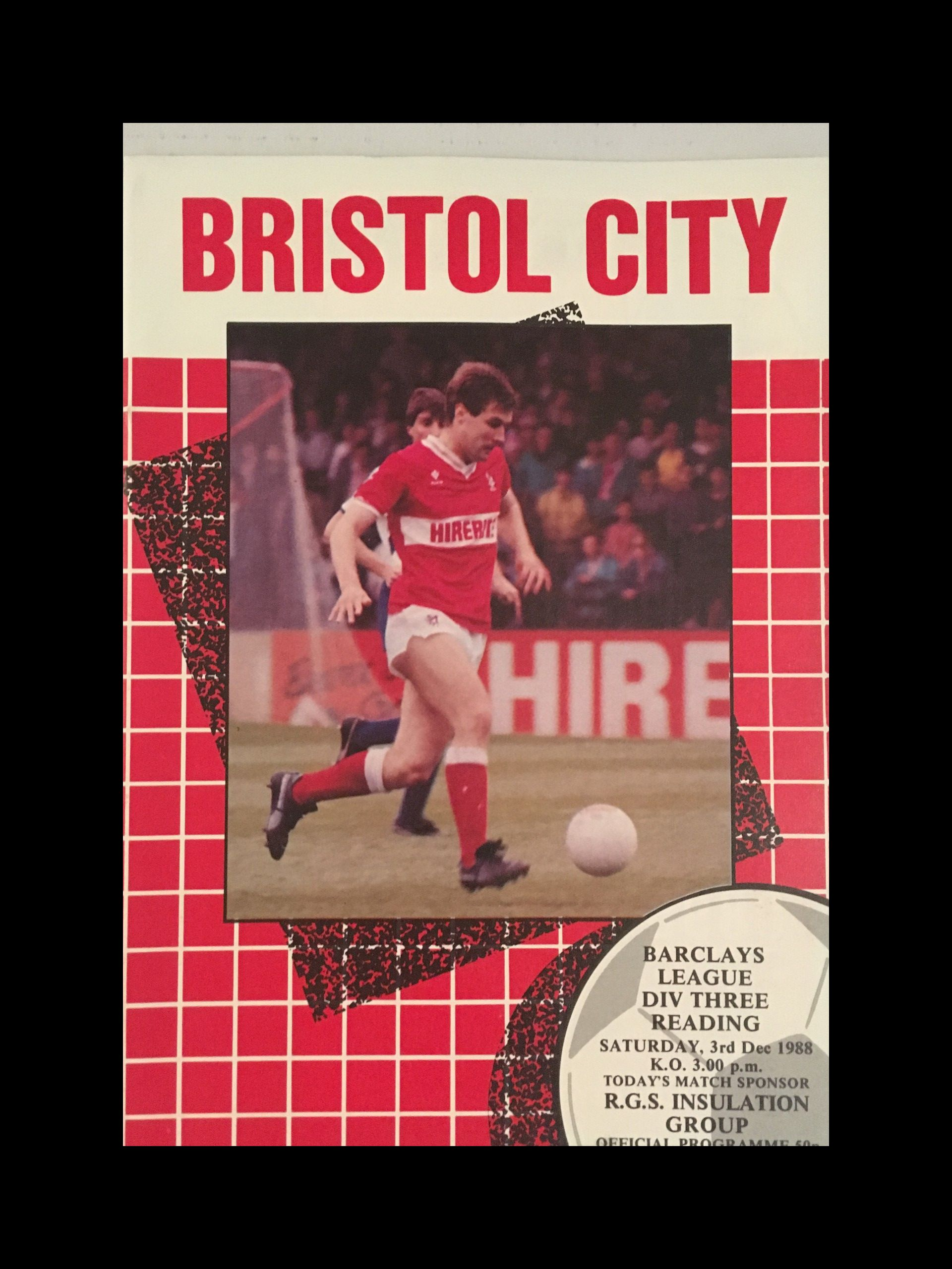 Bristol City v Reading 03-12-1988 Programme