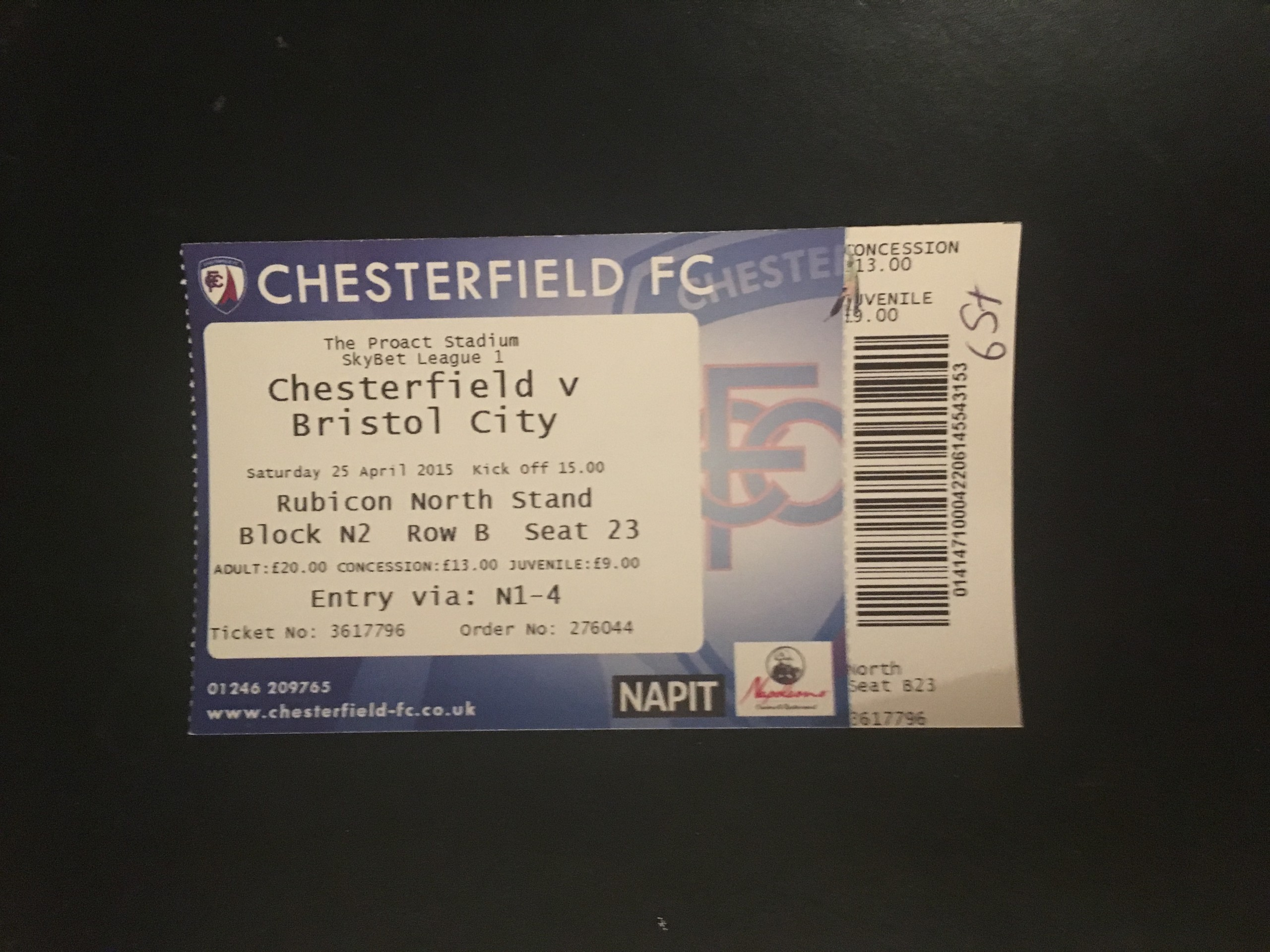 Chesterfield v Bristol City 25-04-2015 Ticket