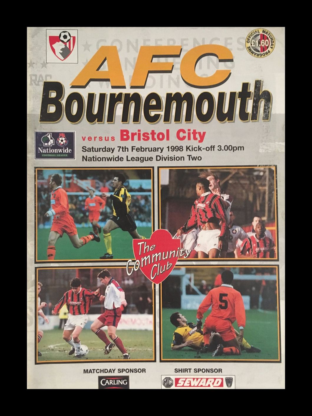 AFC Bournemouth v Bristol City 07-02-1998 Programme