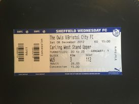 Sheffield Wednesday v Bristol City 08-12-12 Ticket