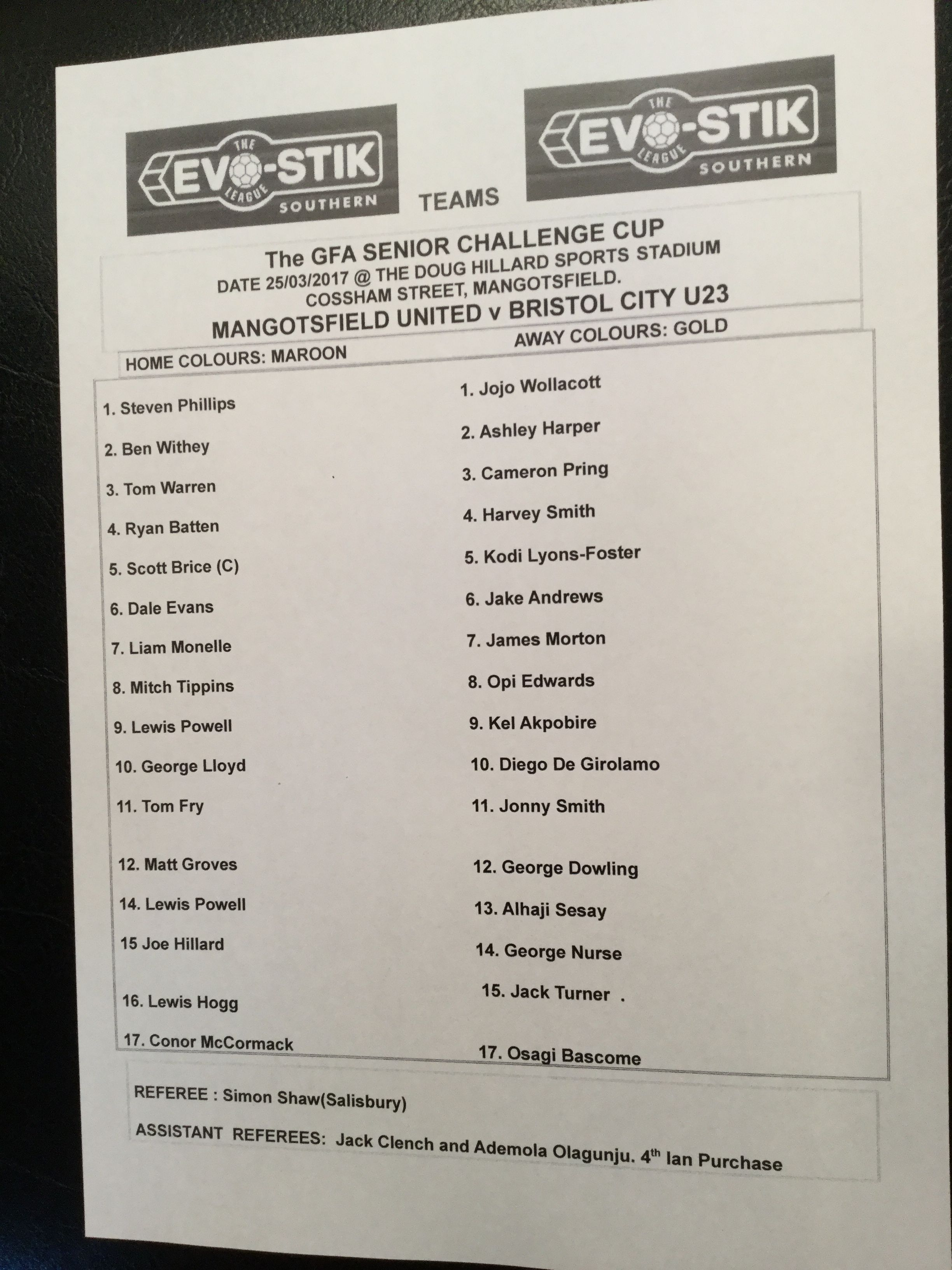 Mangotsfield United v Bristol City 25-03-17 Team Sheet