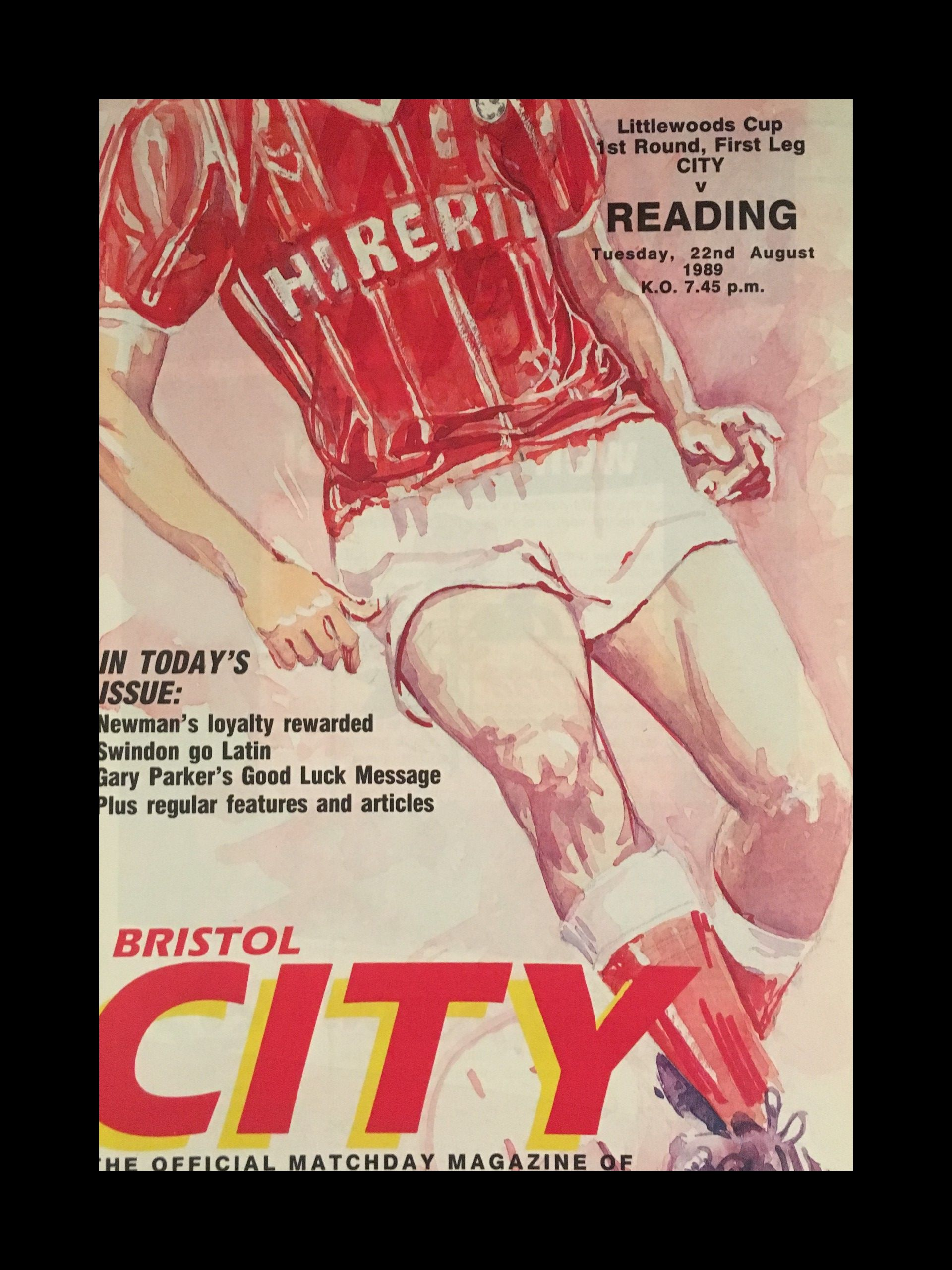 Bristol City v Reading 22-08-1989 Programme