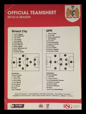 Bristol City v Queens Park Rangers 19-12-2015 Team Sheet