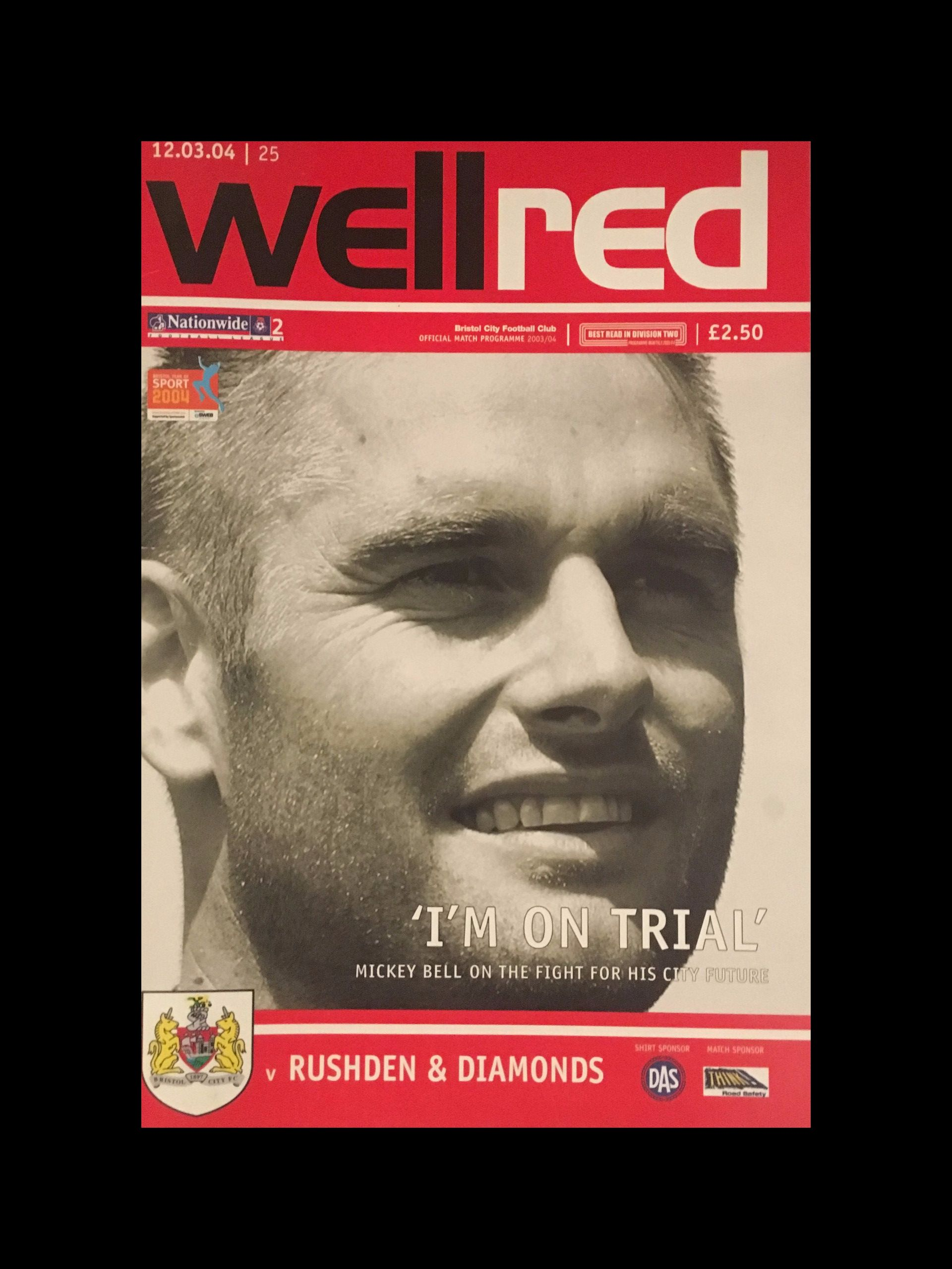 Bristol City v Rushden & Diamonds 12-03-2004 Programme