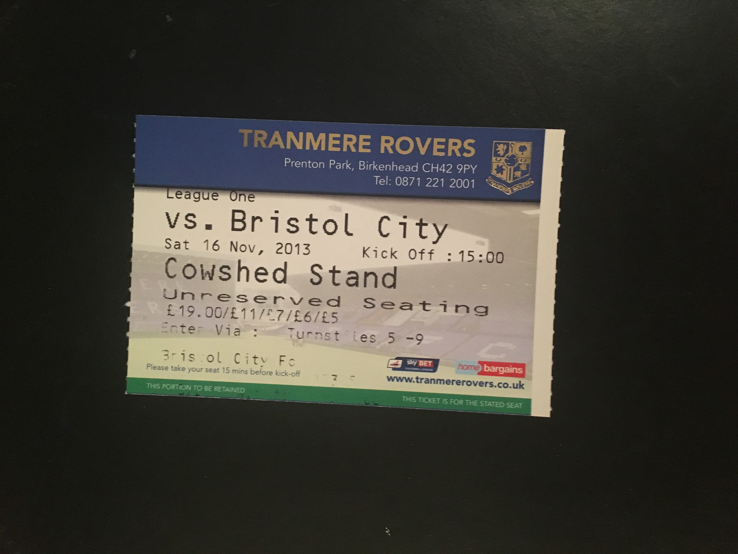 Tranmere Rovers v Bristol City 16-11-2013 Ticket