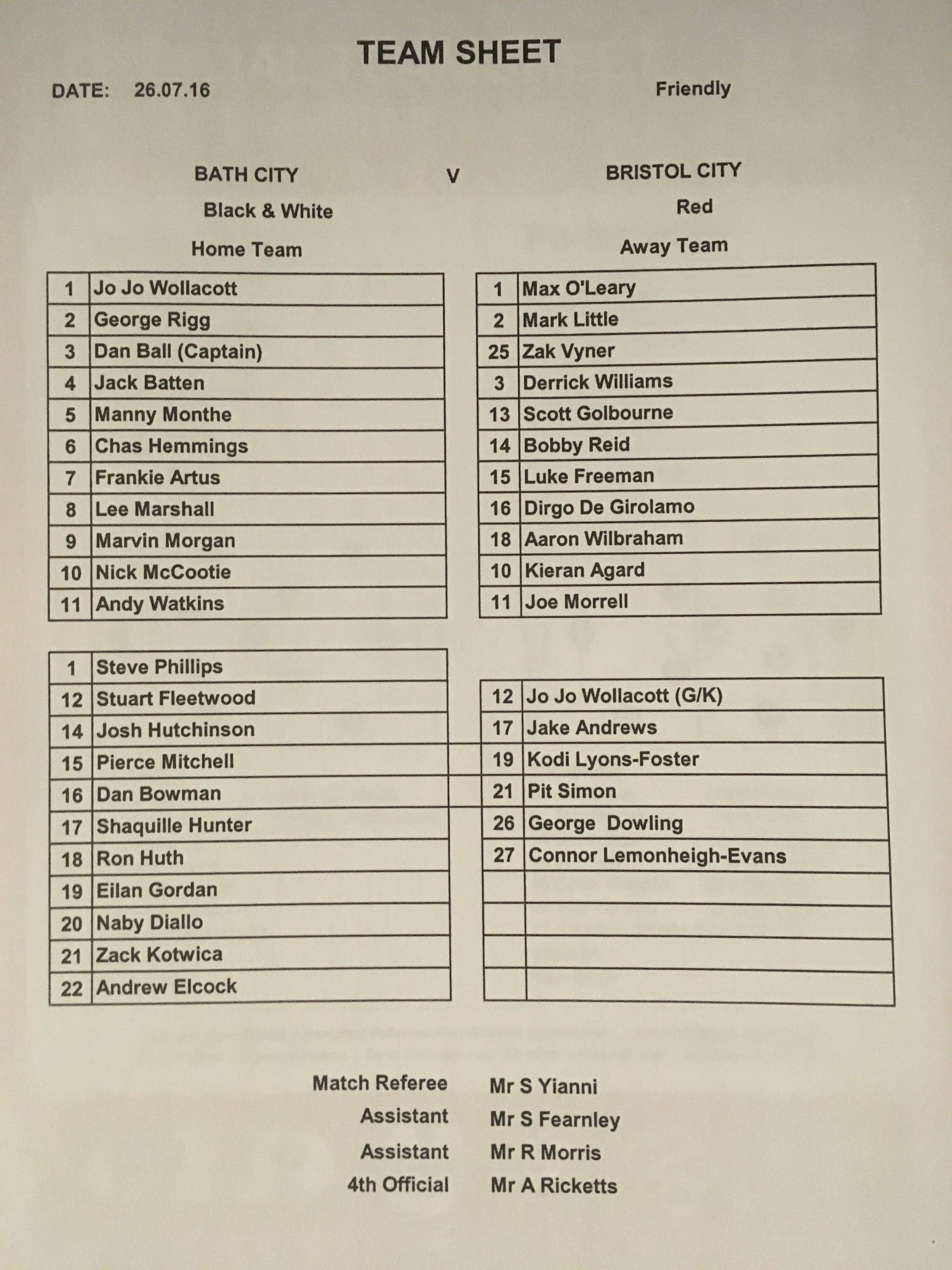 Bath City v Bristol City 26-07-2016 Team Sheet