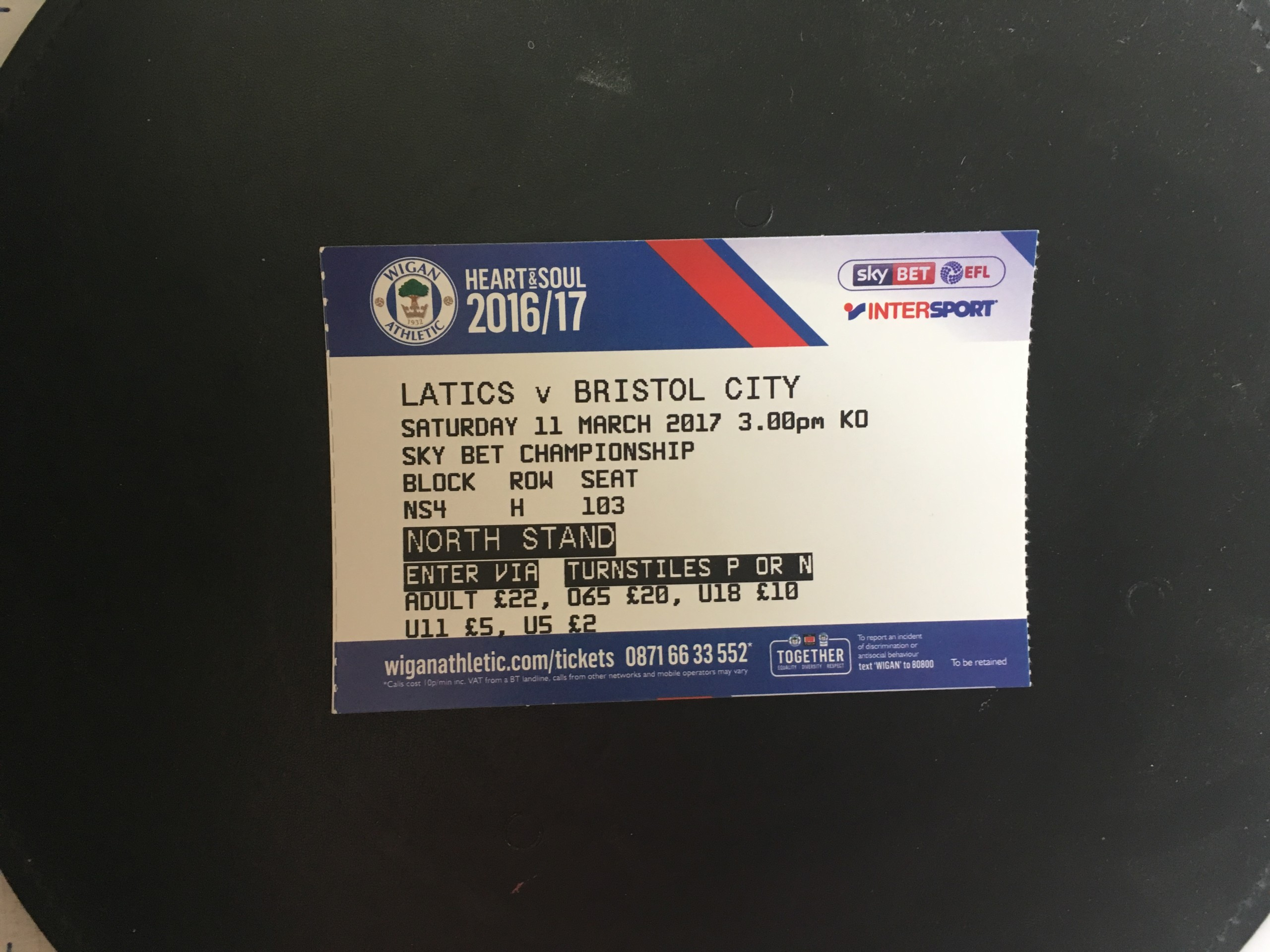 Wigan Athletic v Bristol City 11-03-17 Ticket