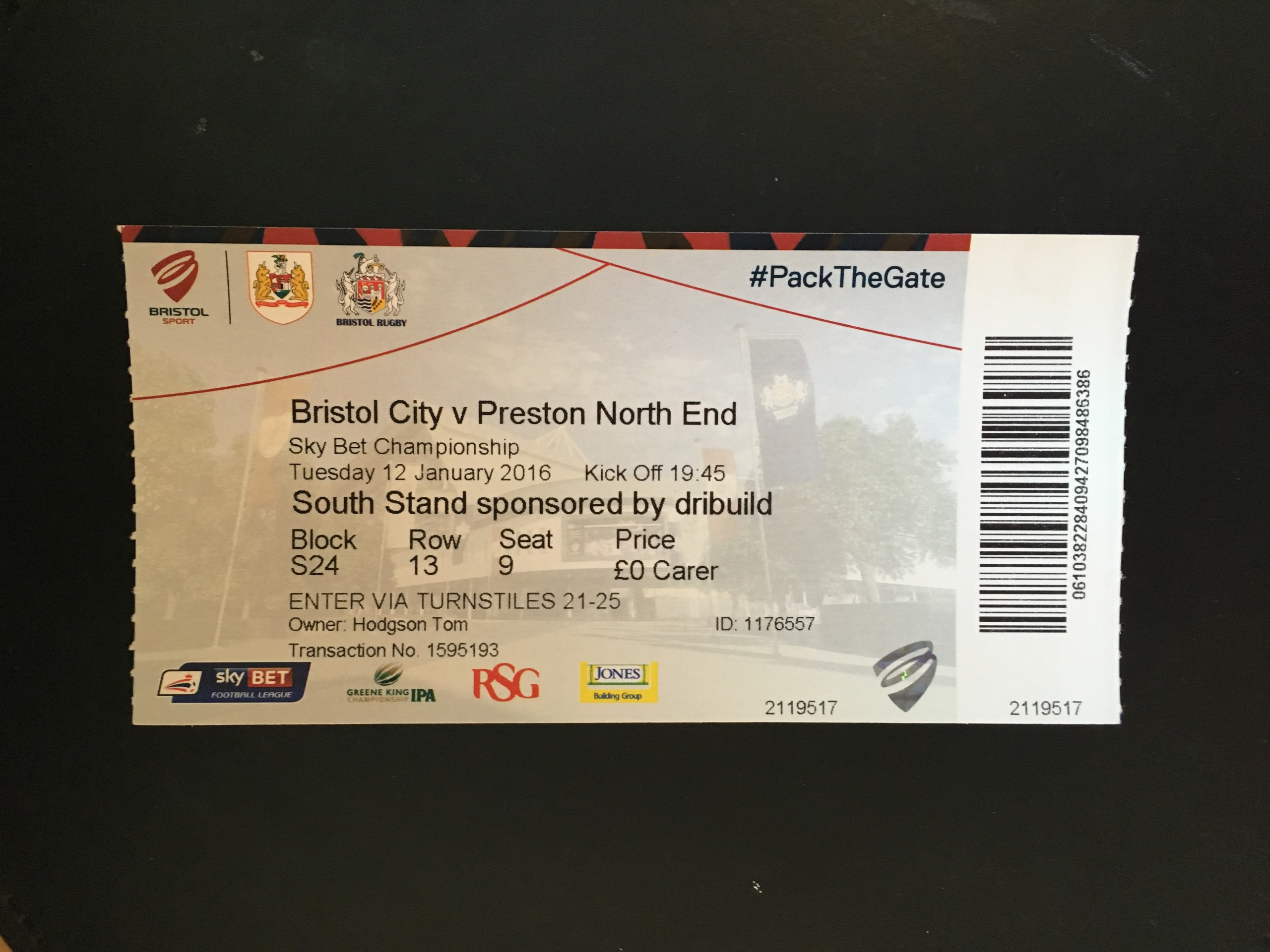 Bristol City v Preston North End 12-01-2016 Ticket
